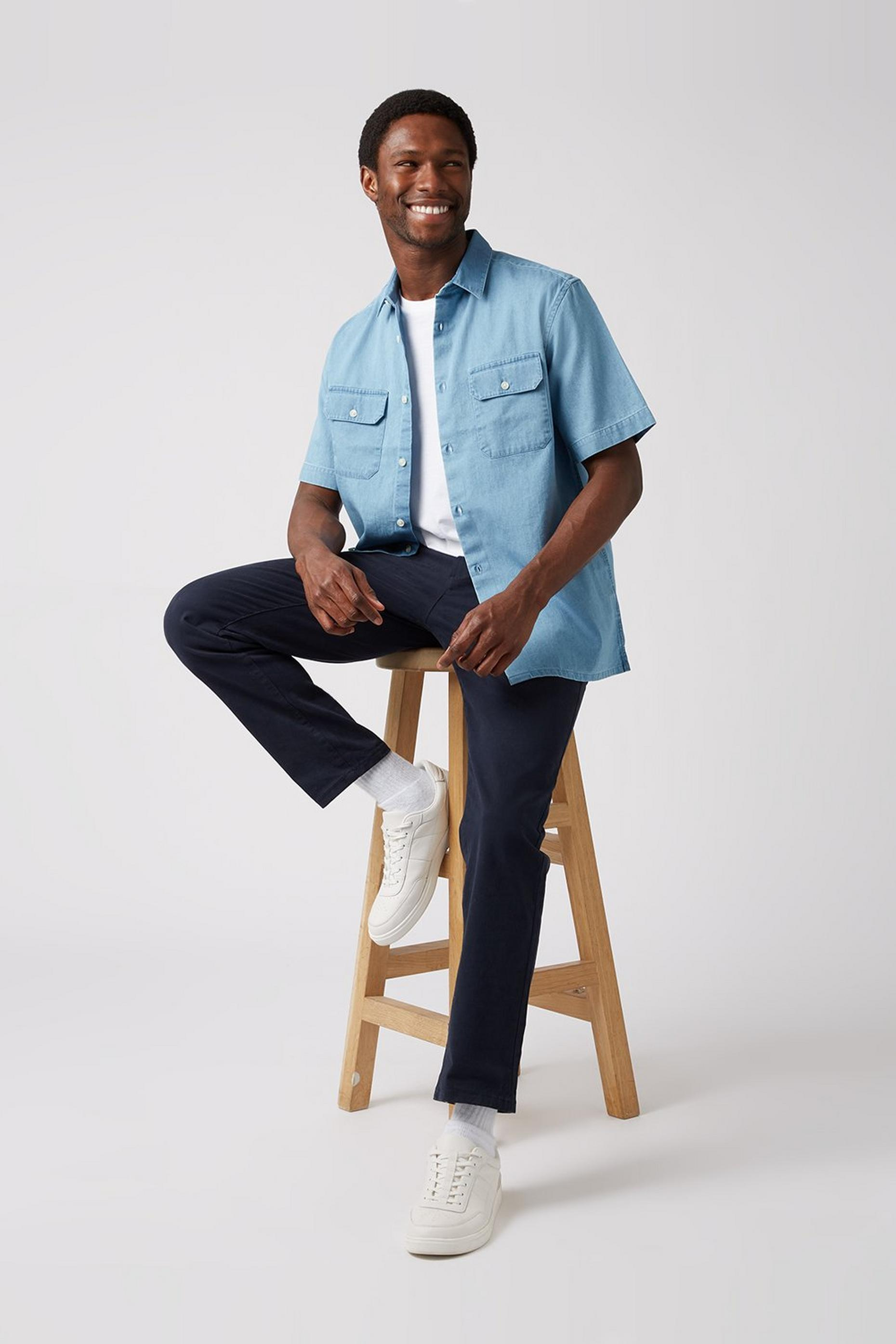Short Sleeve Denim Utility Shirt