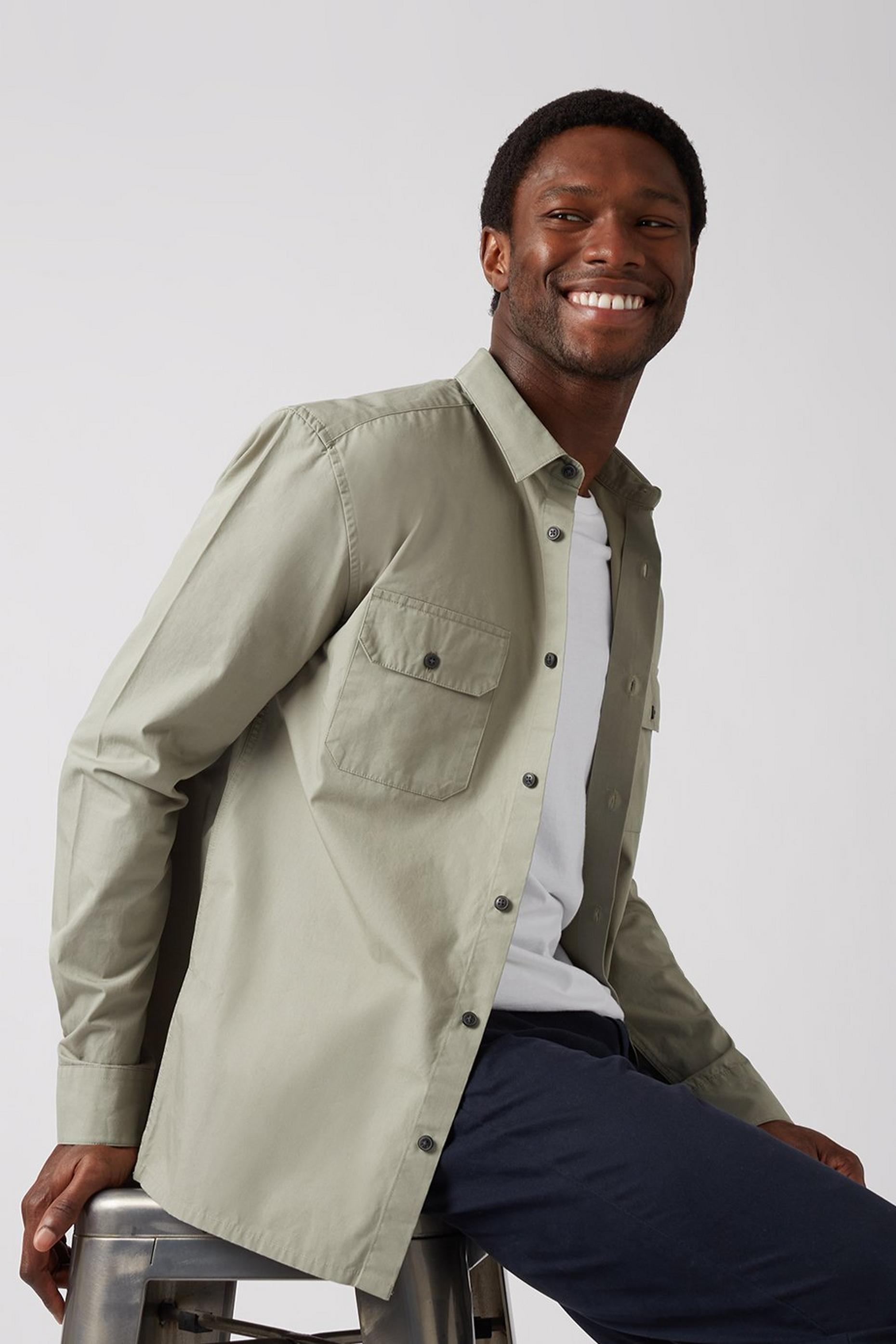 Long Sleeve Khaki Utility Shirt