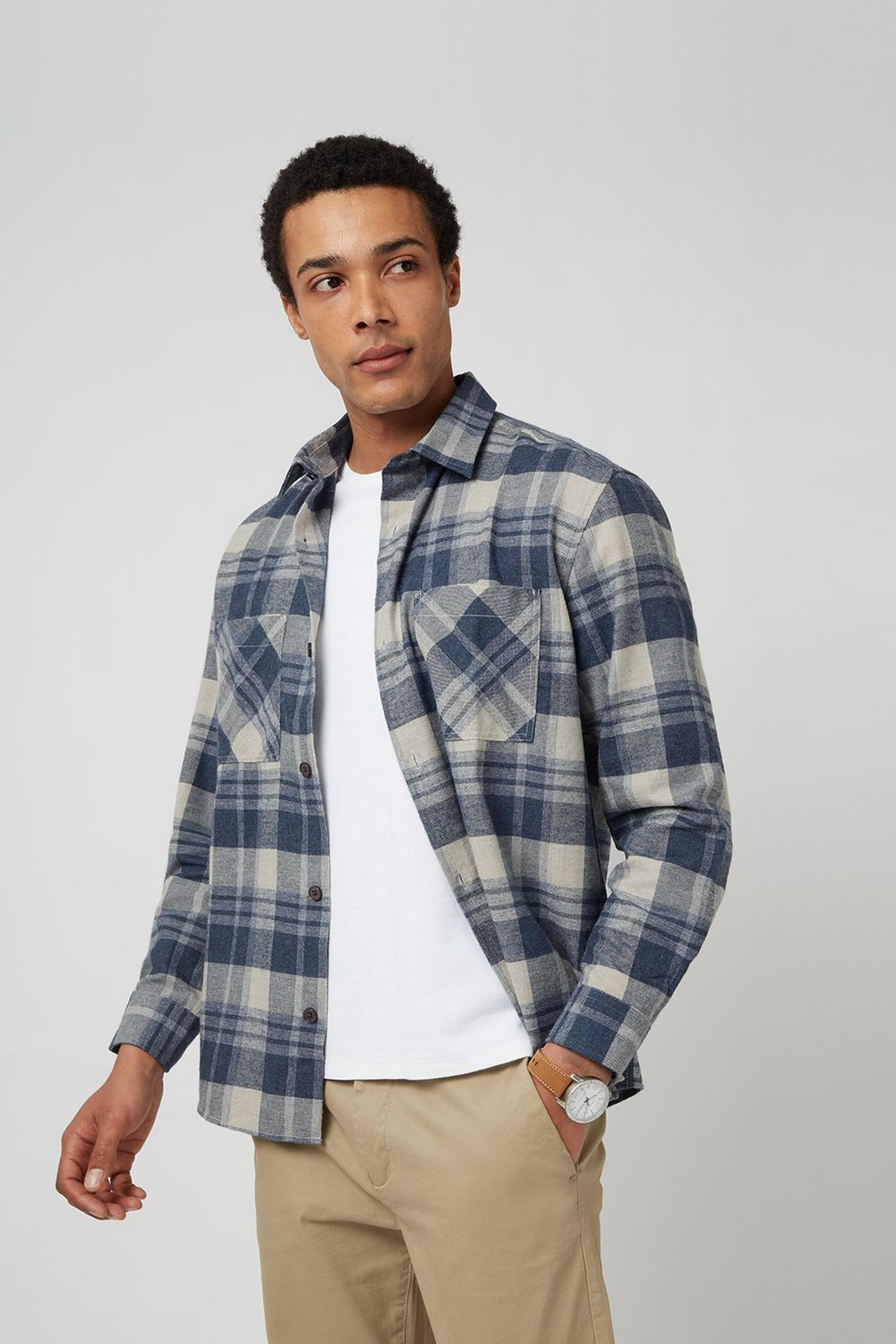 Oversized Navy Check Overshirt