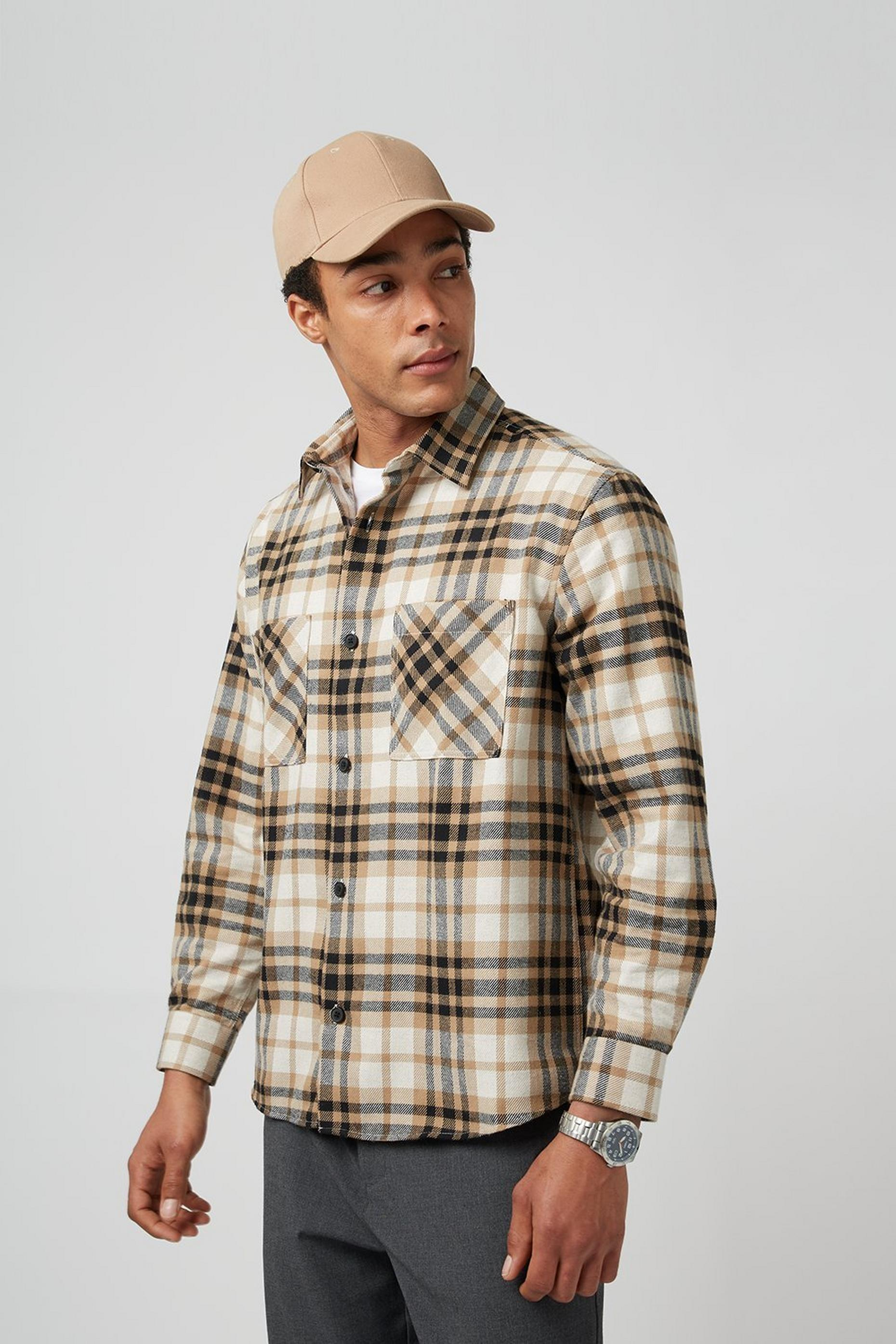 Oversized Camel Check Overshirt