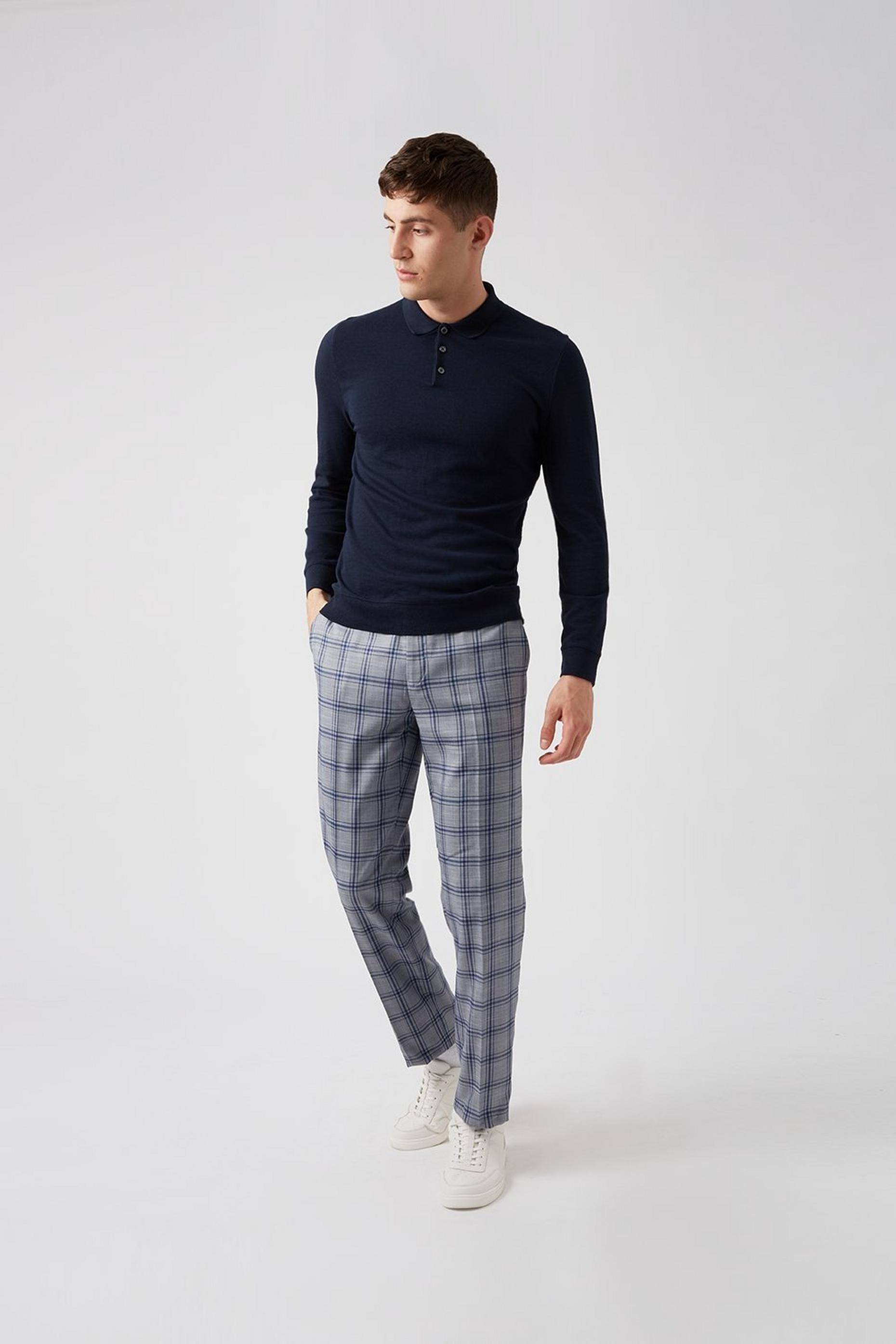 Grey Blue Over Check Slim Fit Suit Trouser