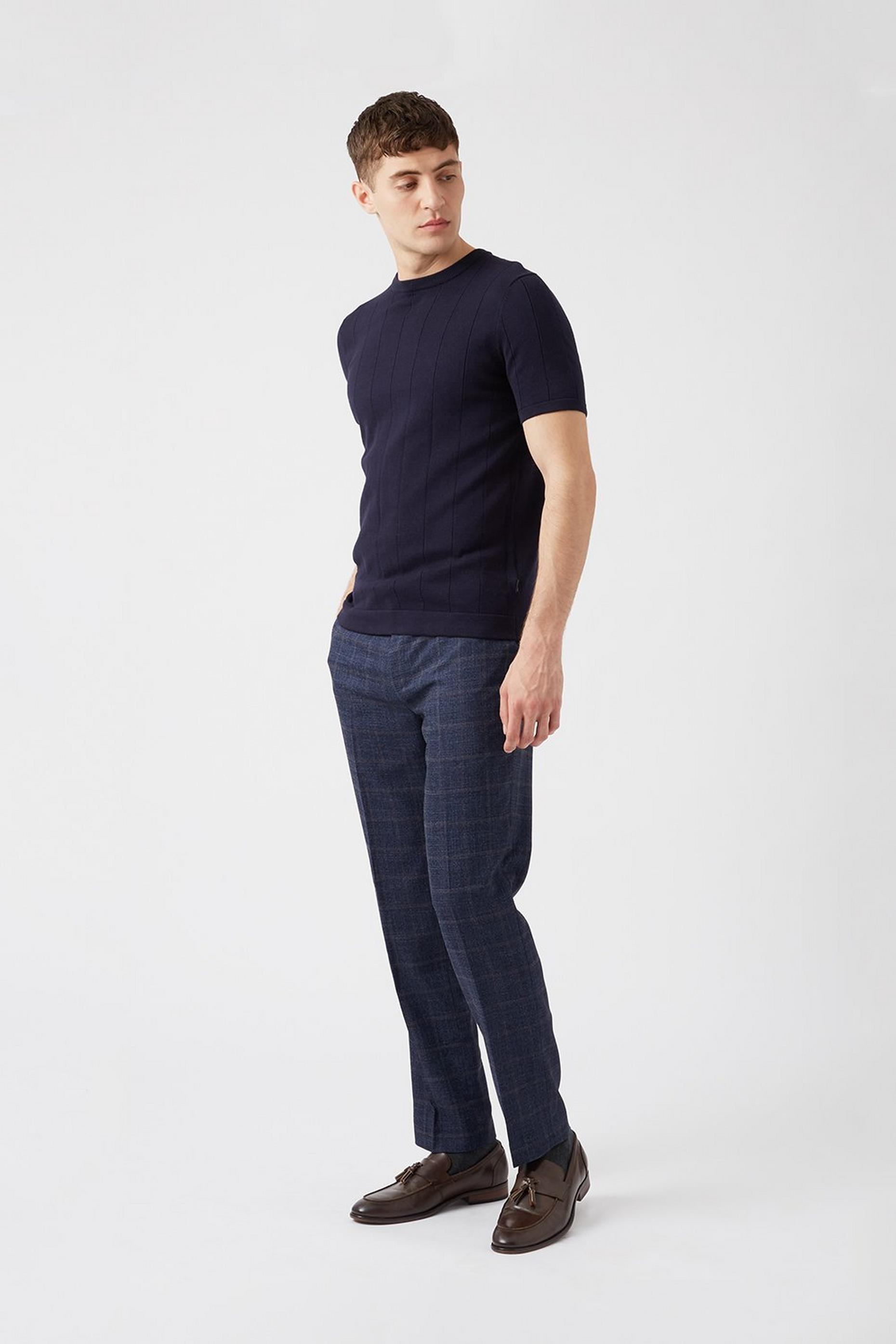 Navy Highlight Check Slim Fit Suit Trousers