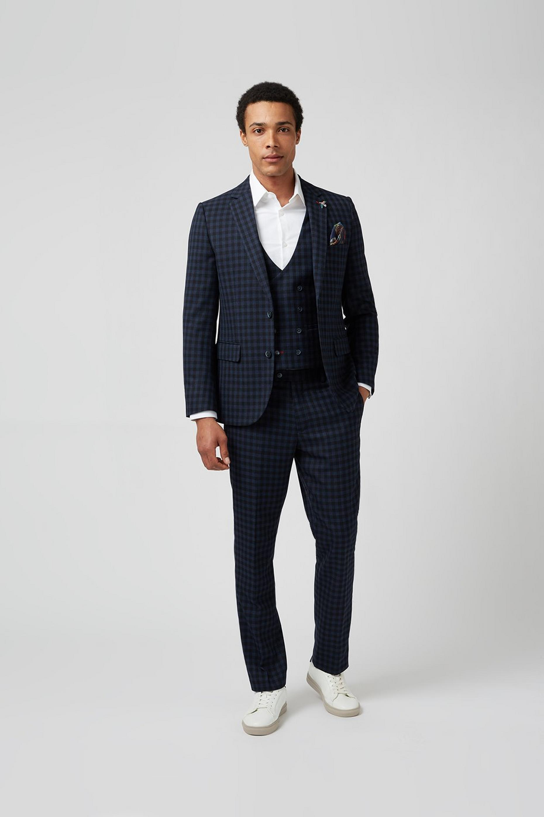 Navy Gingham Check Slim Fit Waistcoat