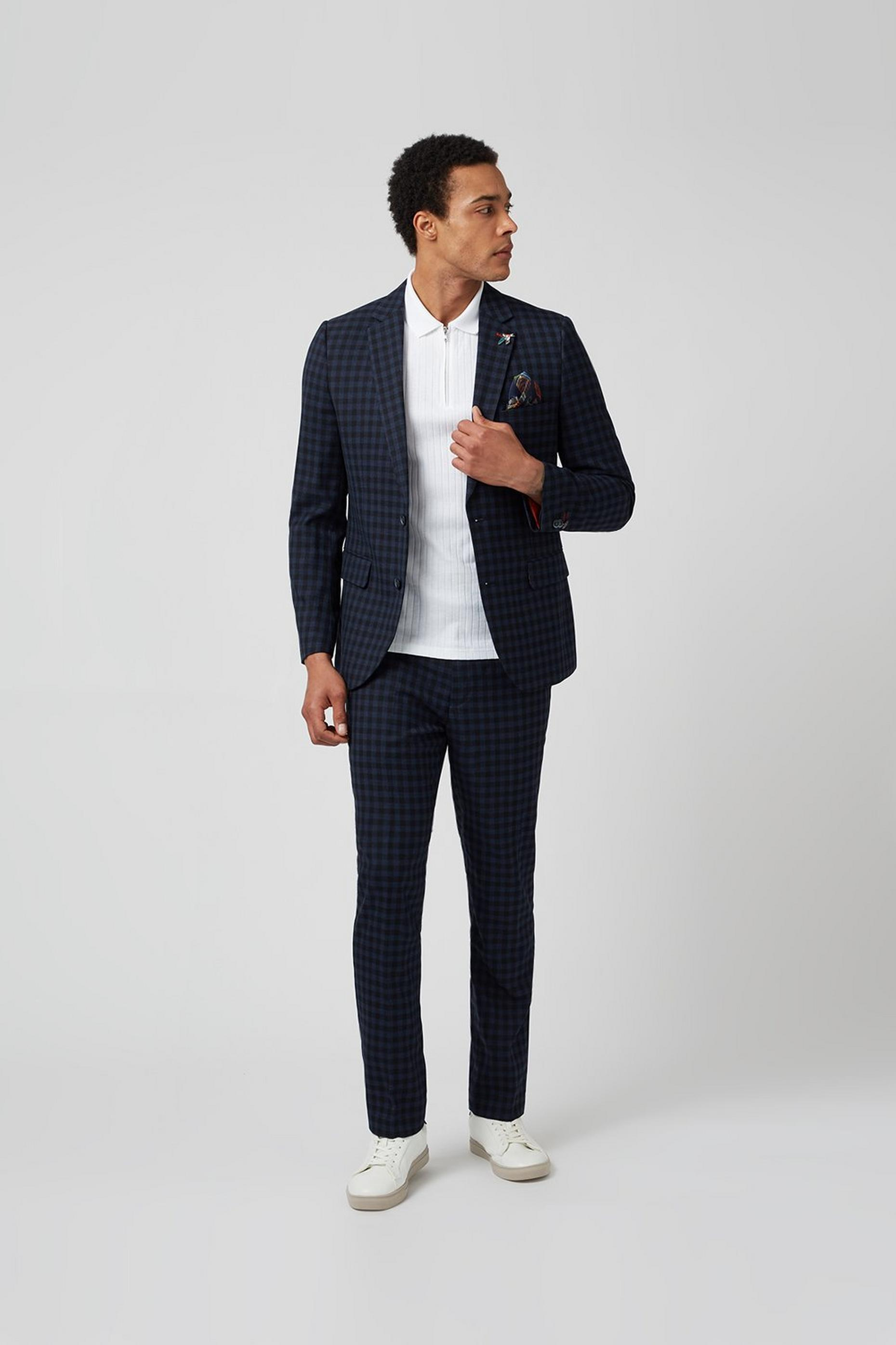 Navy Gingham Check Slim Fit Suit Trouser