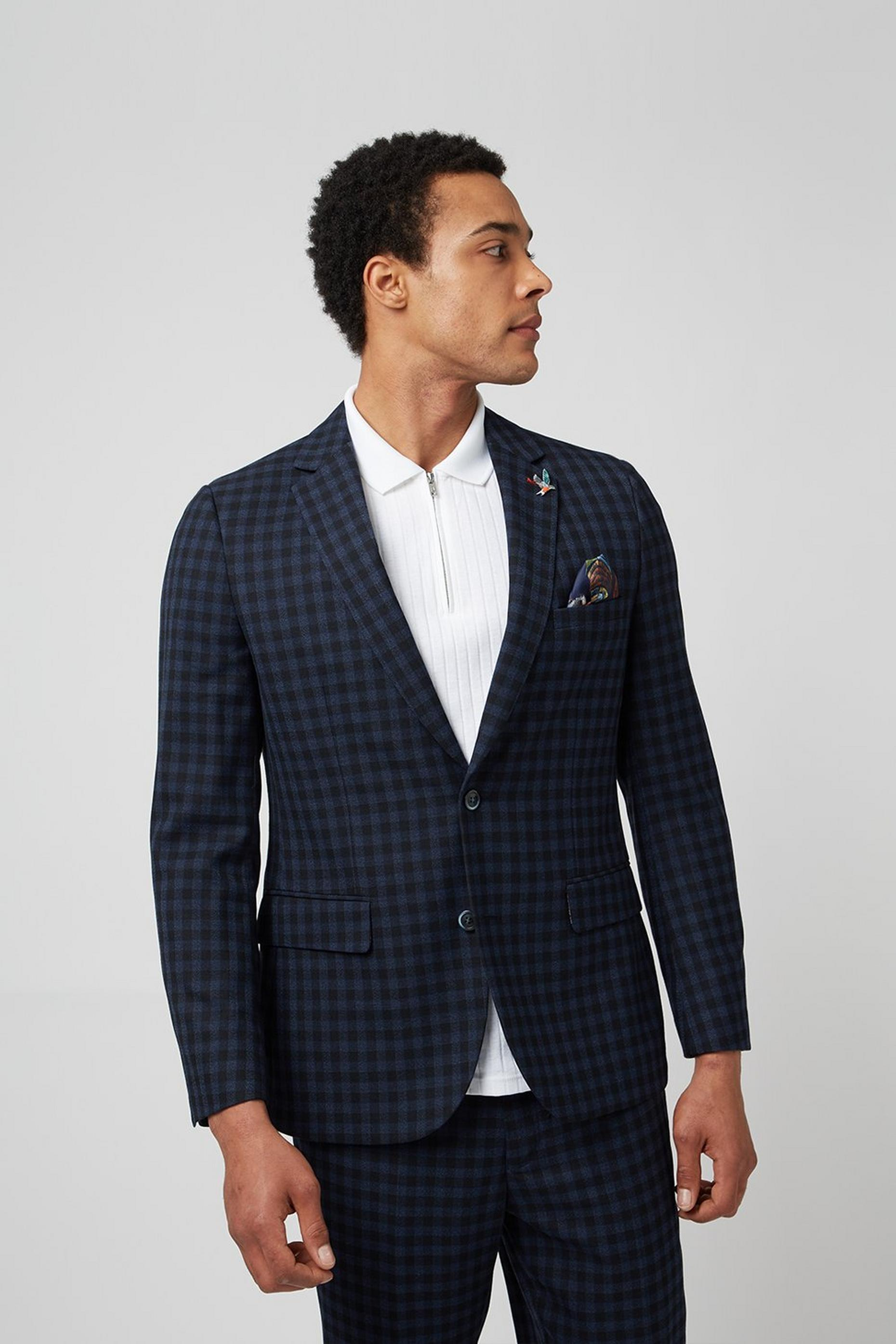 Navy Gingham Check Slim Fit Suit Jacket
