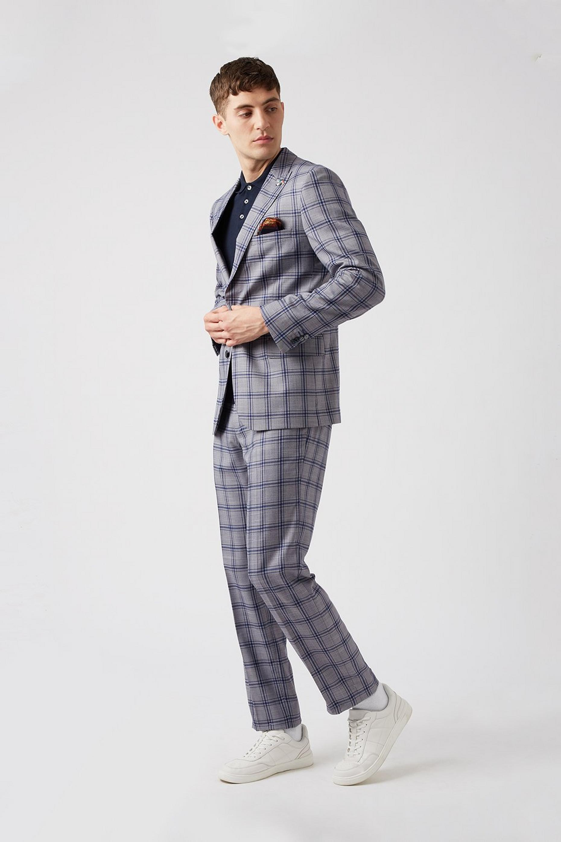 Grey Blue Over Check Slim Fit Suit Jacket