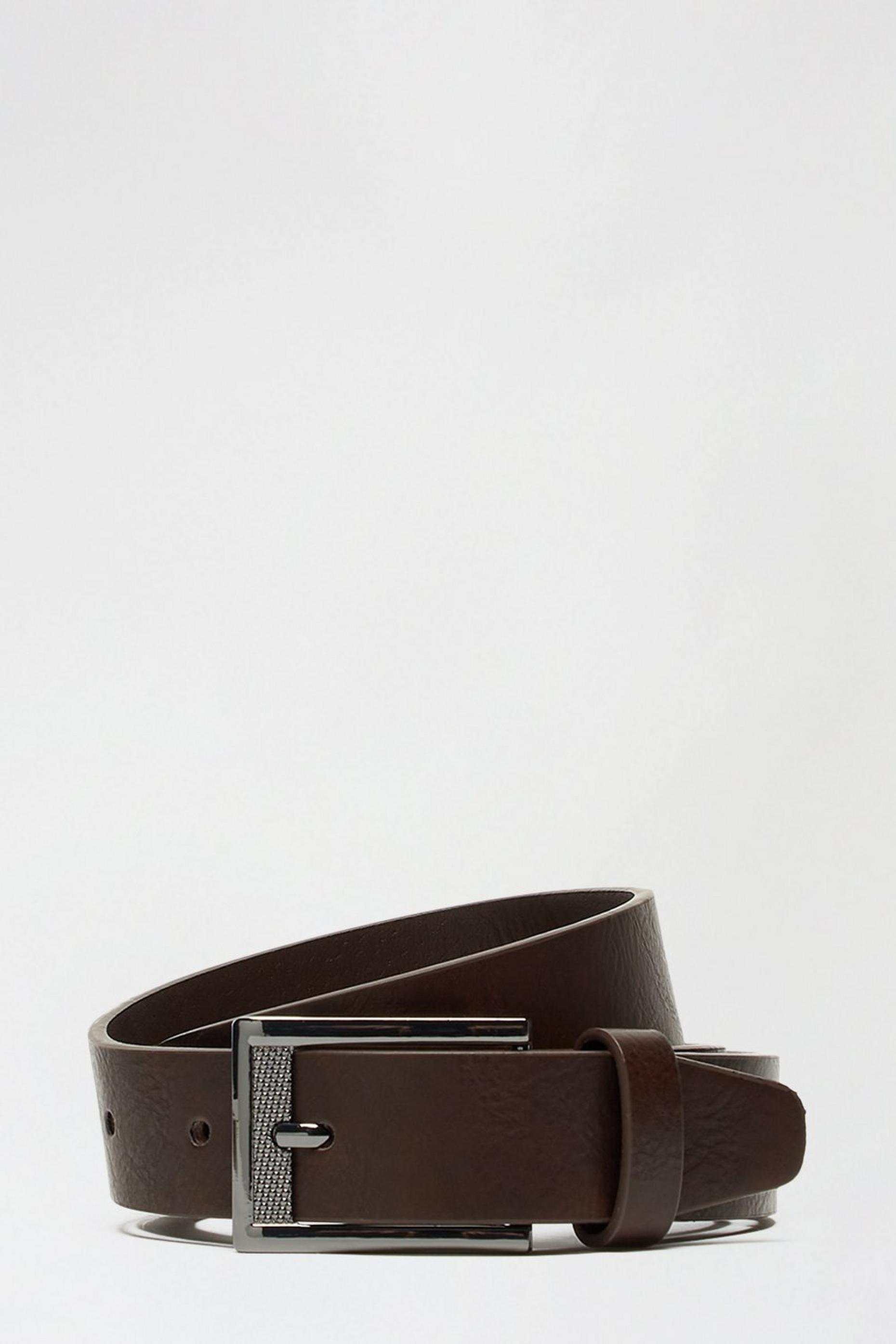 2 Pack Black And Brown Textured Buckle Belts