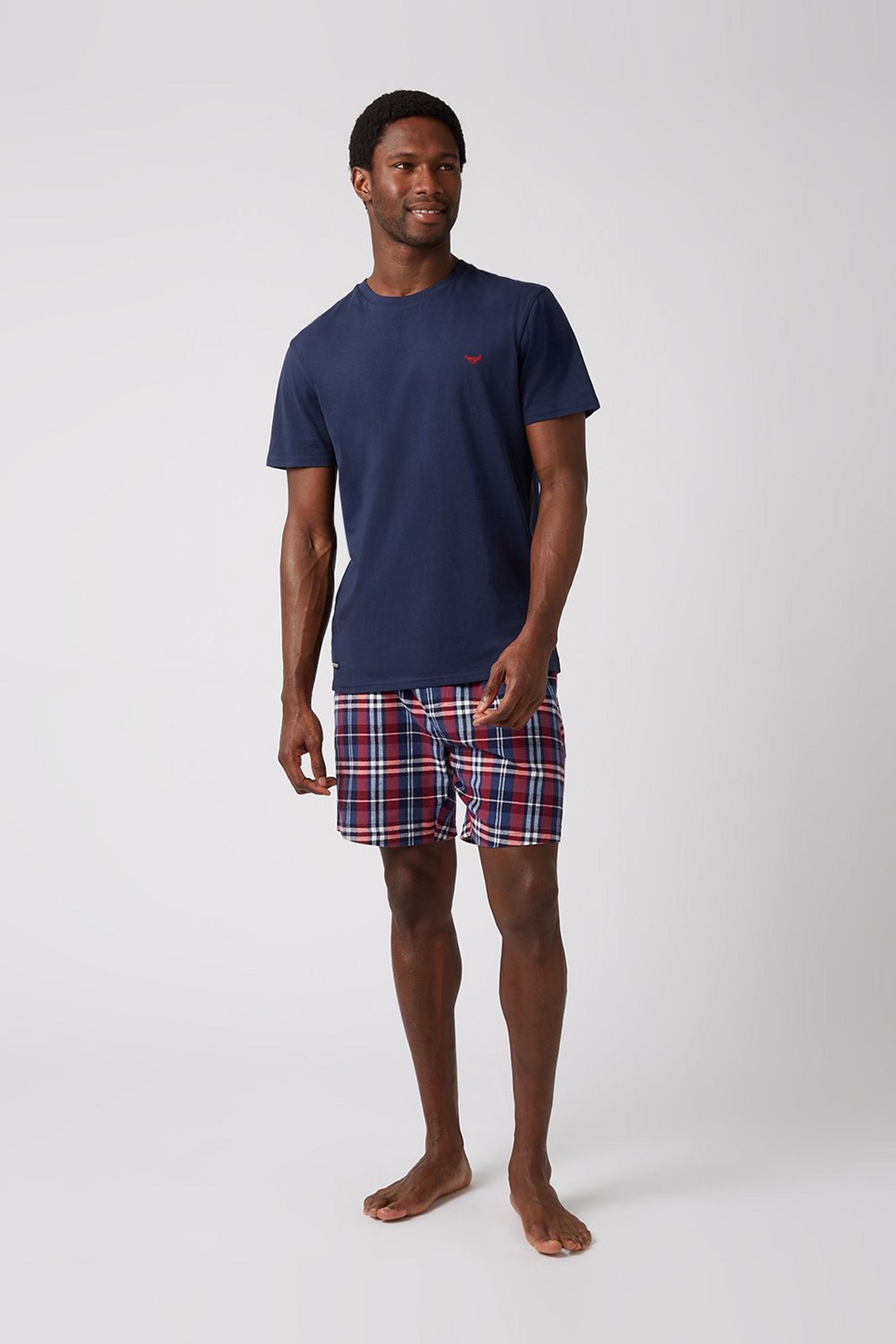 Navy Tee & Red Woven Check Short Set