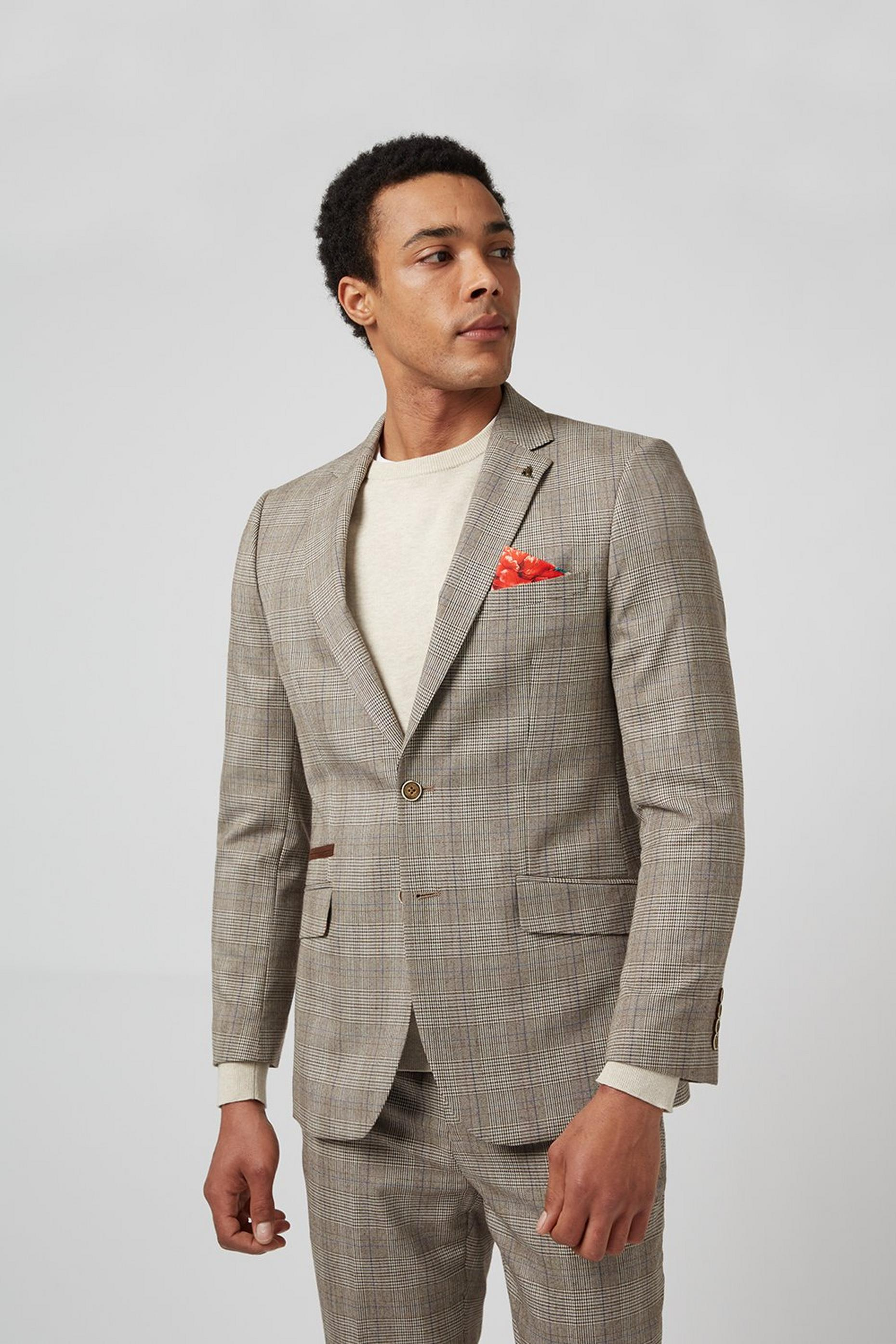 Grey Highlight Check Slim Fit Suit Jacket