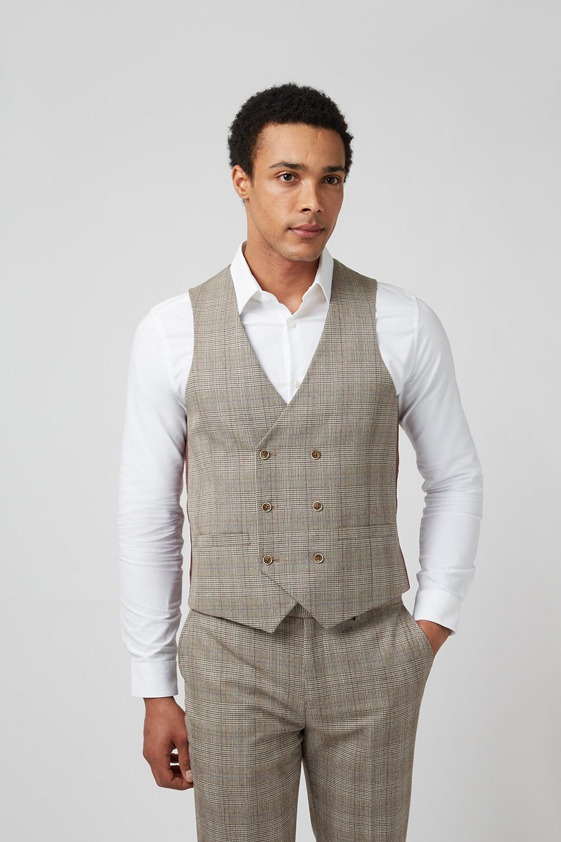Grey Highlight Check Slim Fit Waistcoat