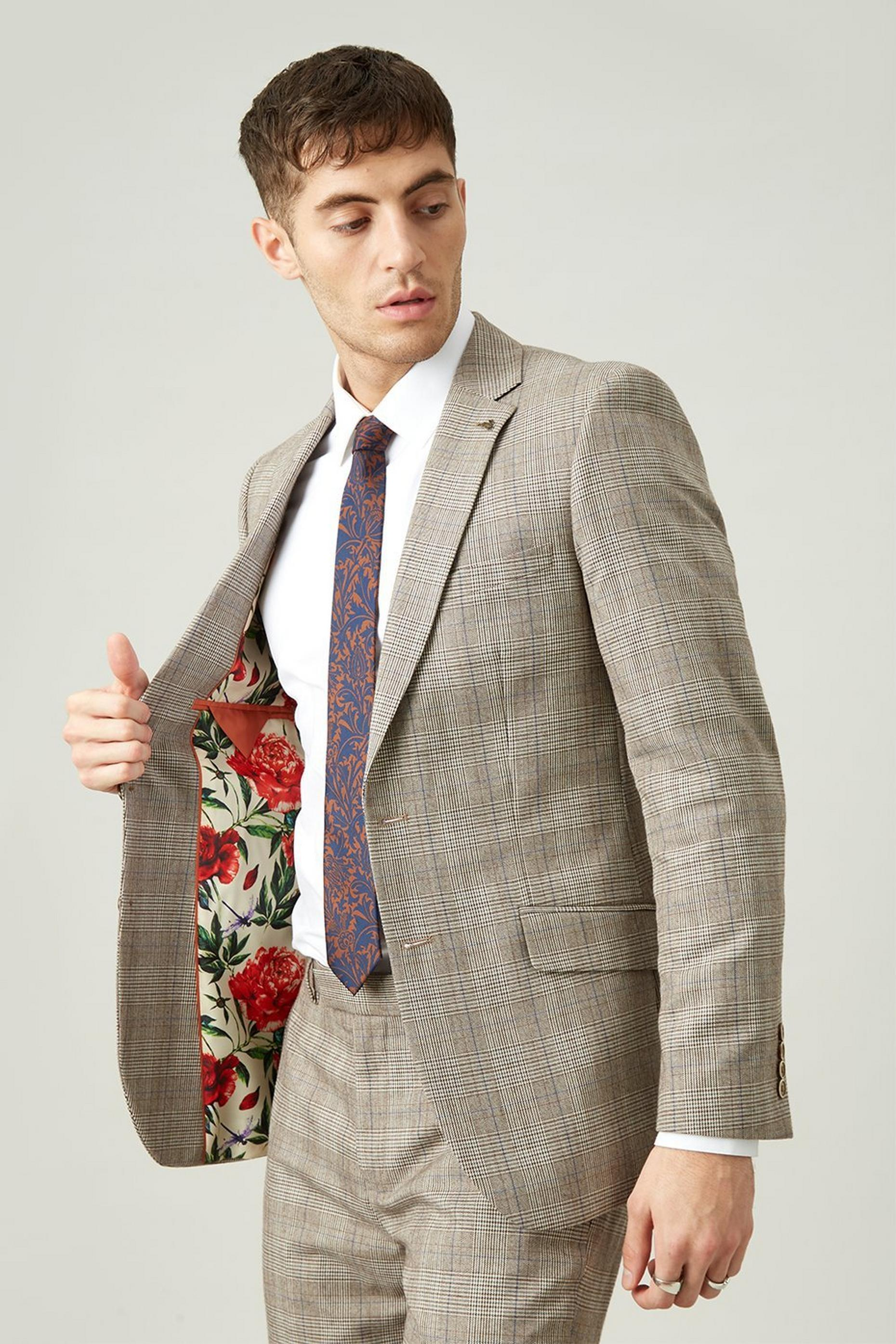 Grey Highlight Check Slim Fit Suit Trouser