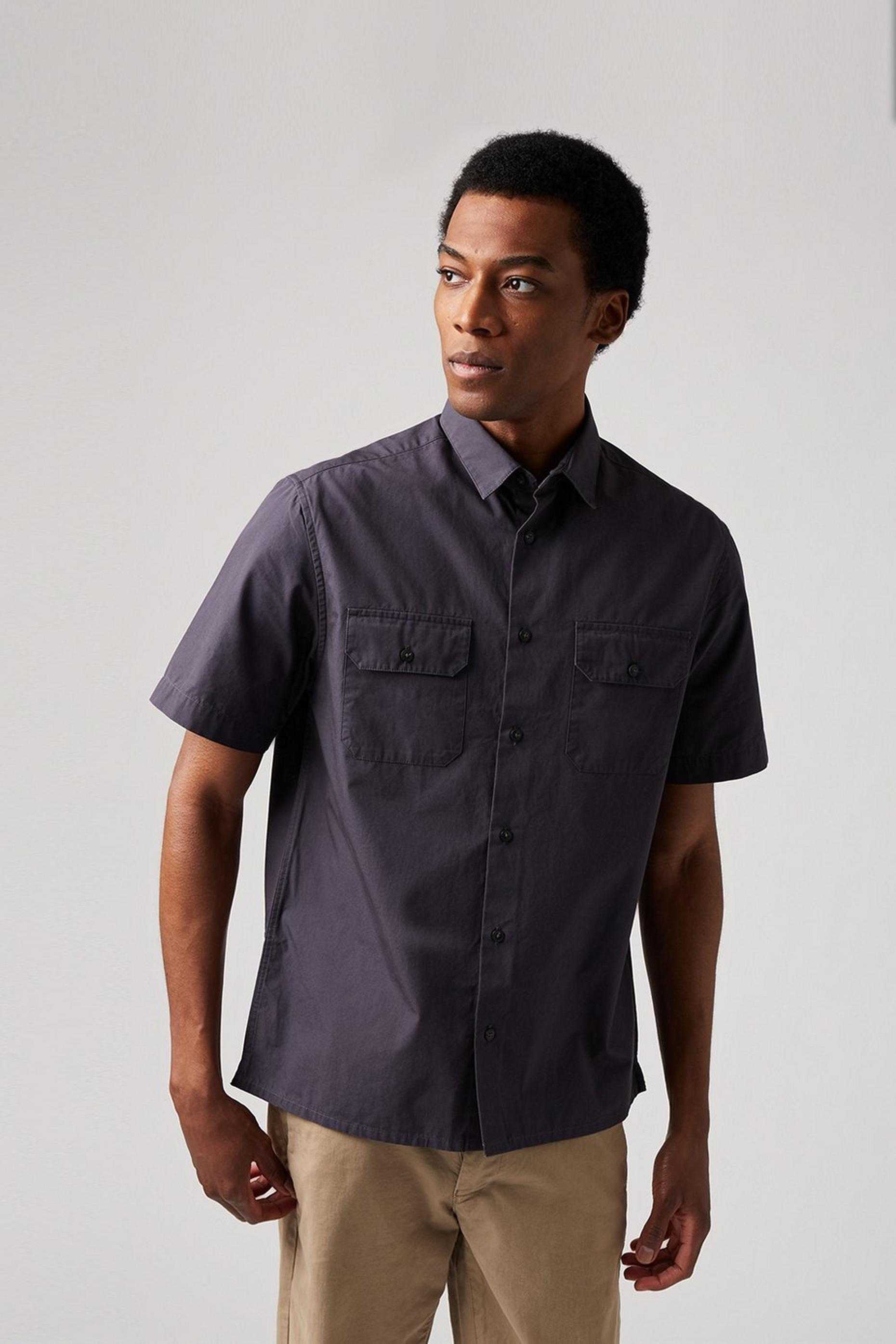 Short Sleeve Grey Utility Shirt