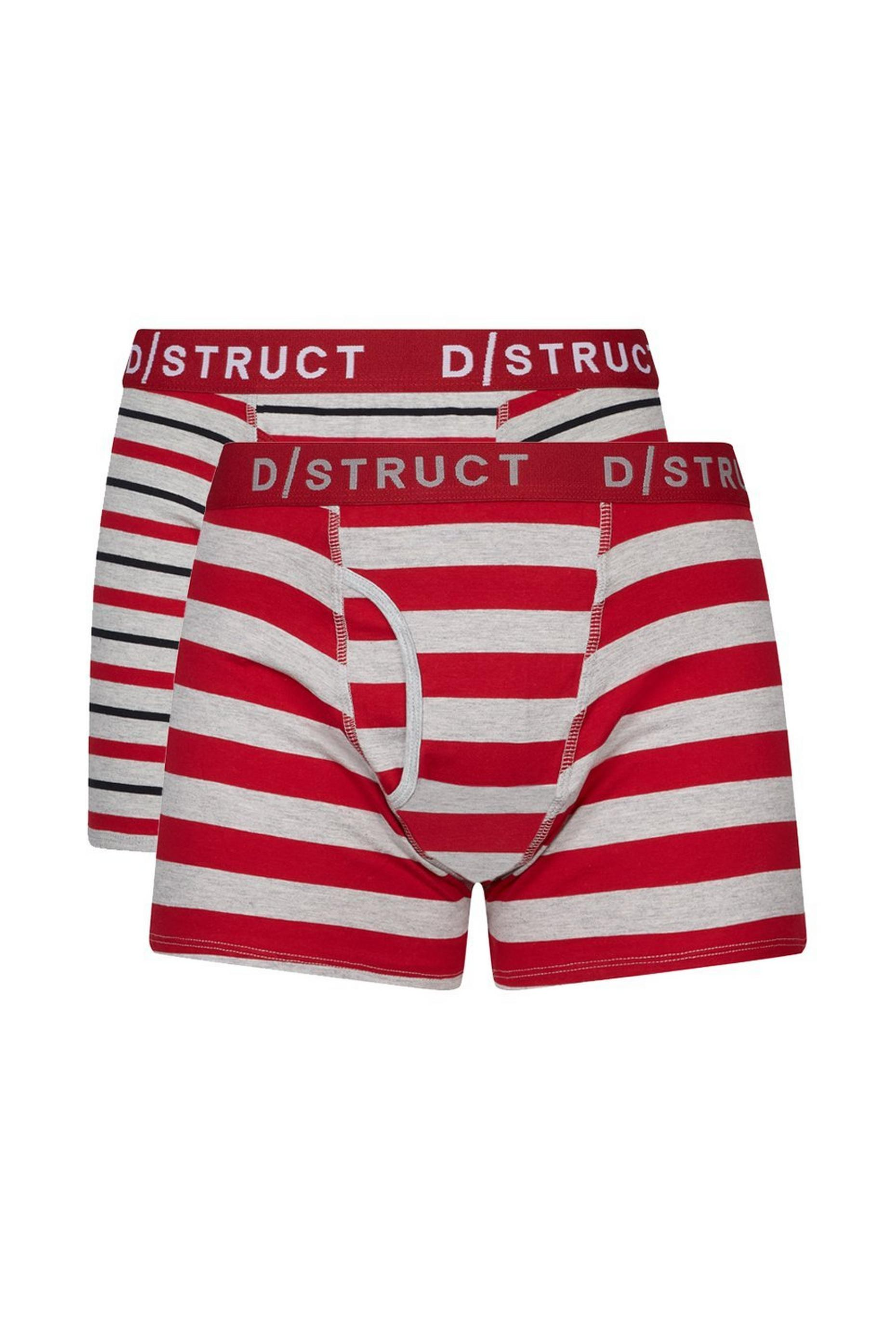 2 Pack Red and  Grey Stripe Trunks