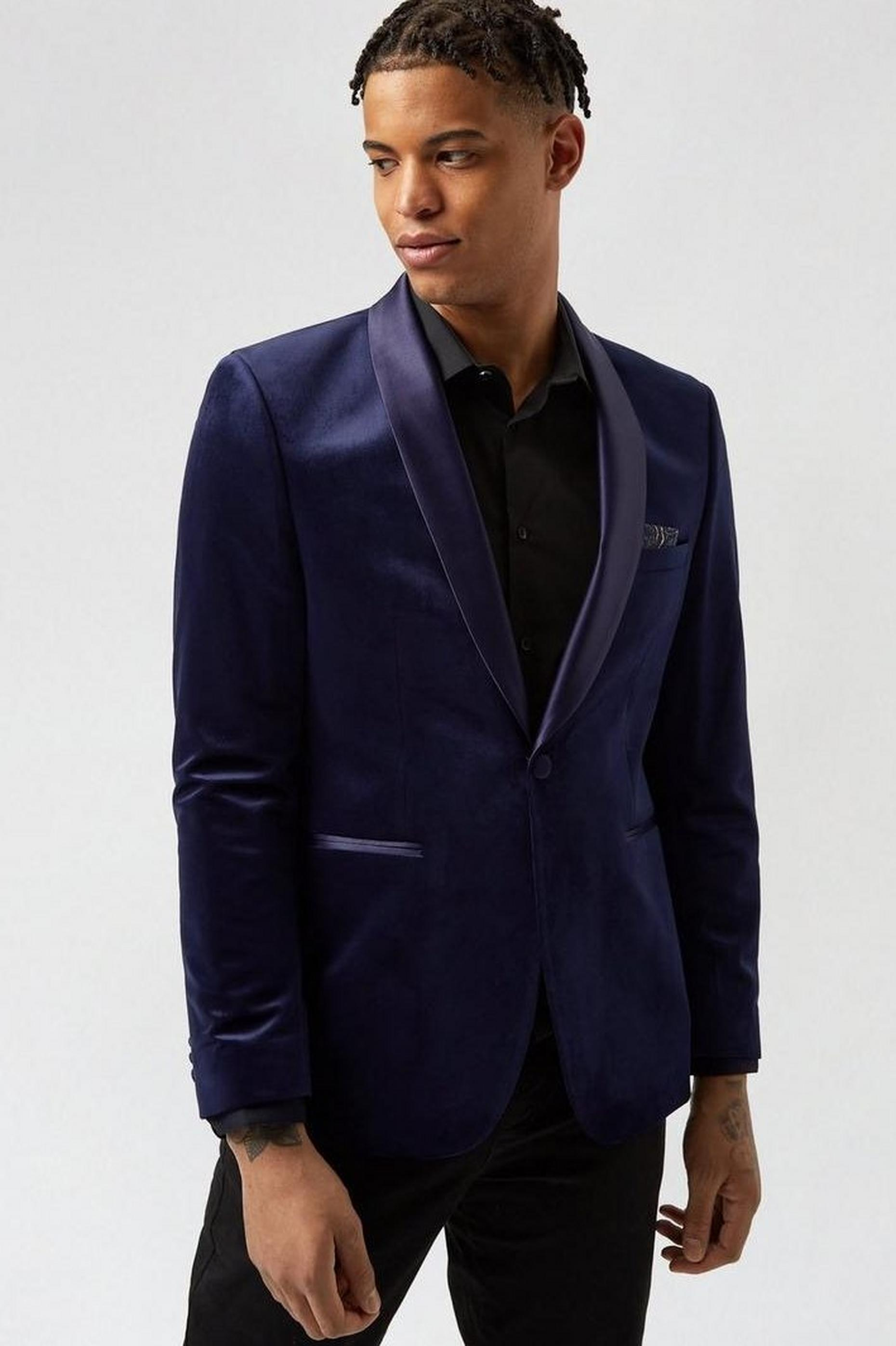 Blue Midnight Tonal Velvet Blazer