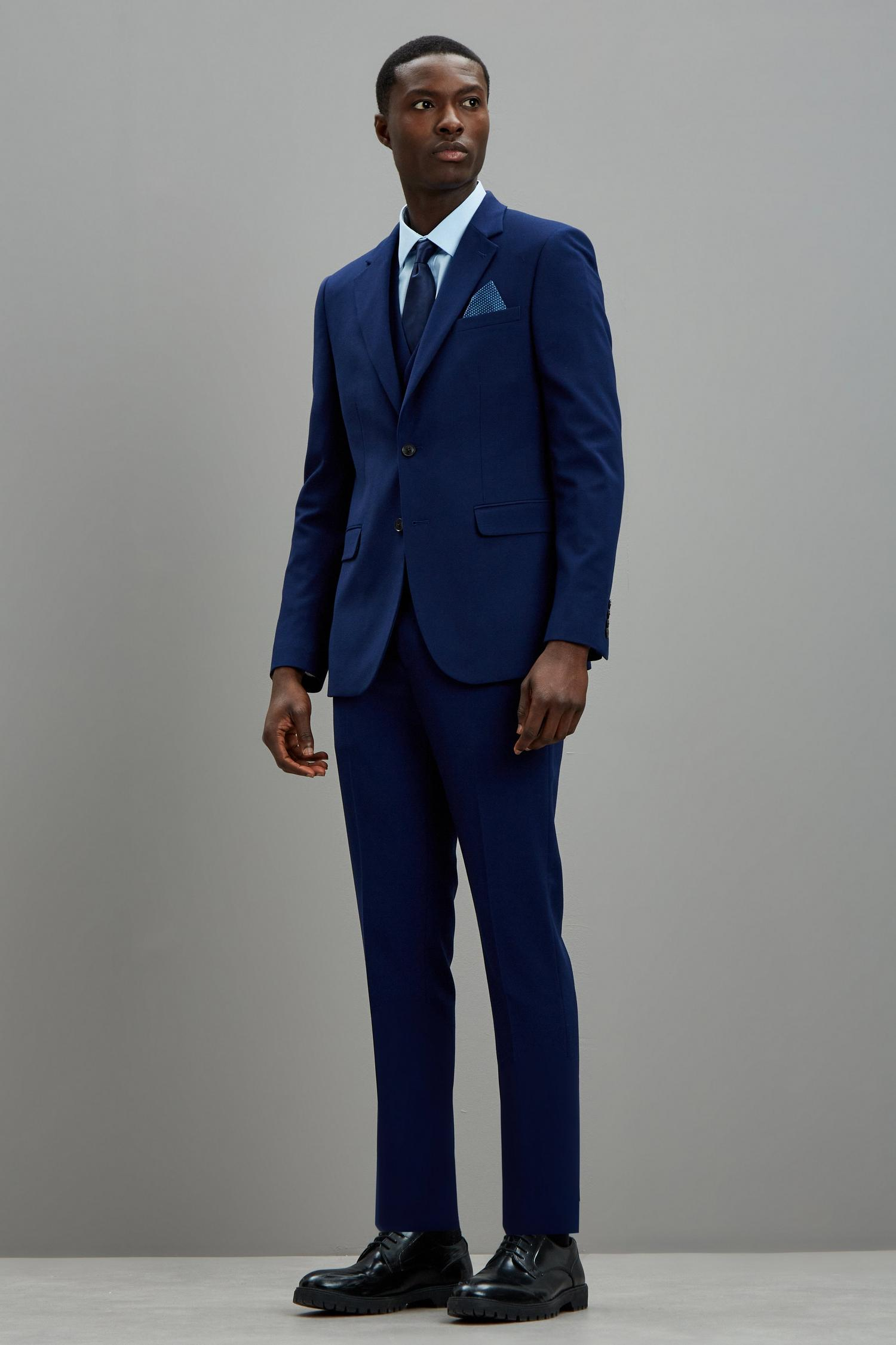 148 Blue Texture Skinny Fit Suit Jacket image number 1