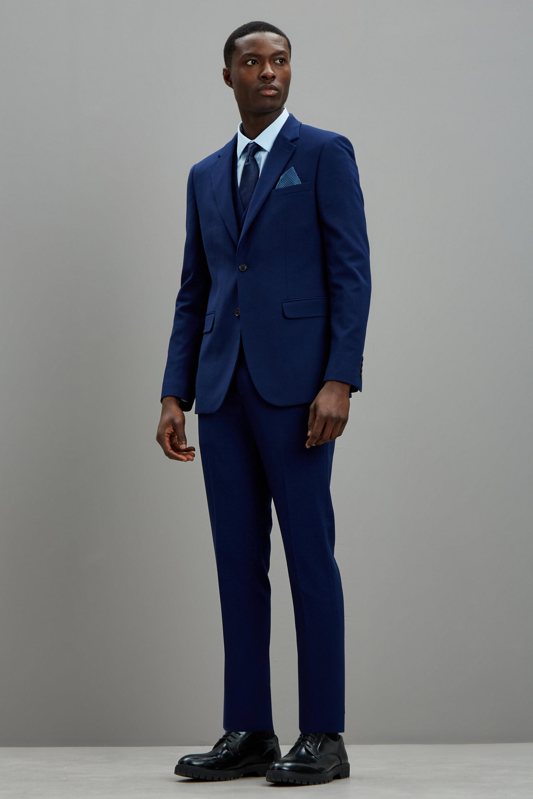 Blue Texture Skinny Fit Suit Jacket