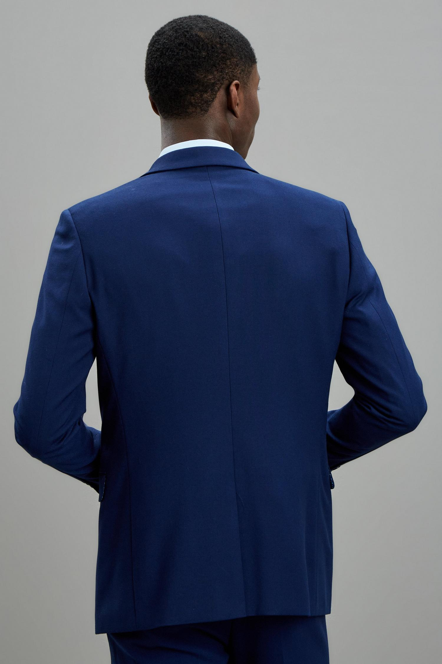 148 Blue Texture Skinny Fit Suit Jacket image number 3