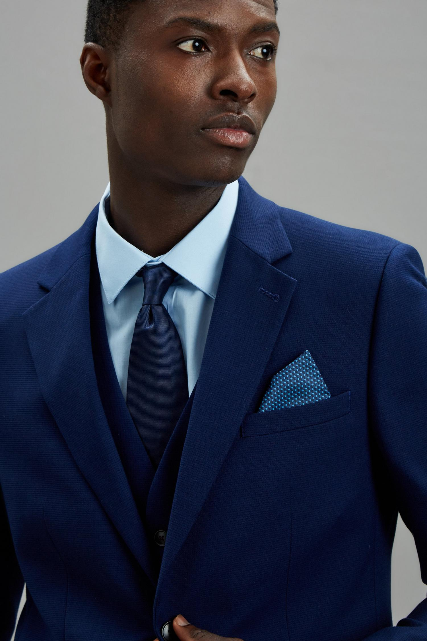 148 Blue Texture Skinny Fit Suit Jacket image number 4