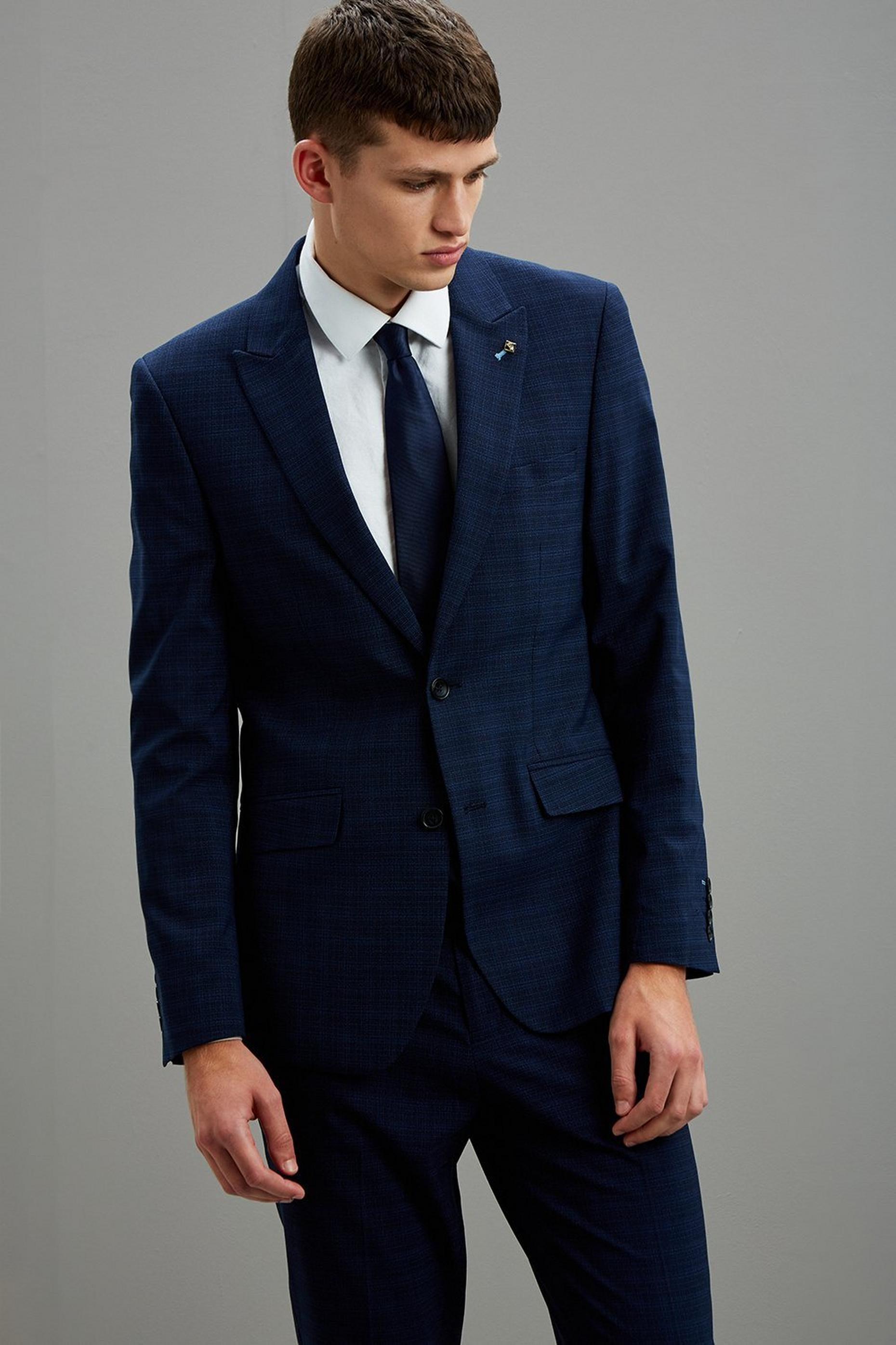 Navy Crosshatch Slim Fit Suit Jacket