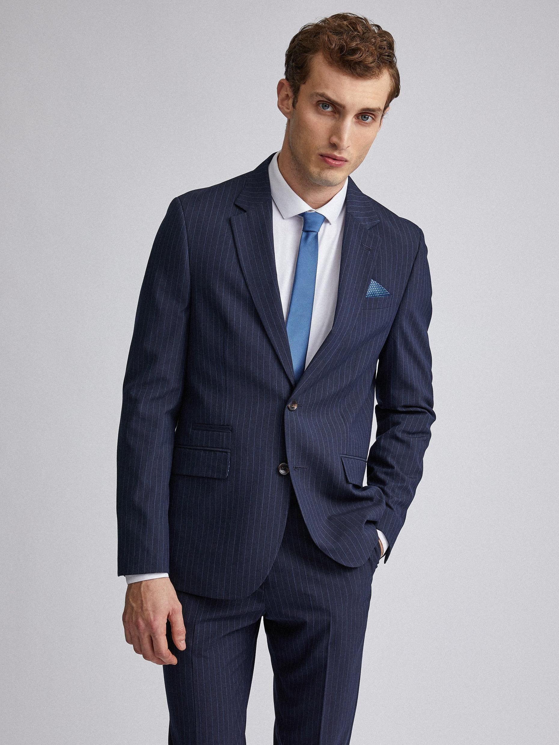 Navy Pinstripe Slim Fit Suit Jacket