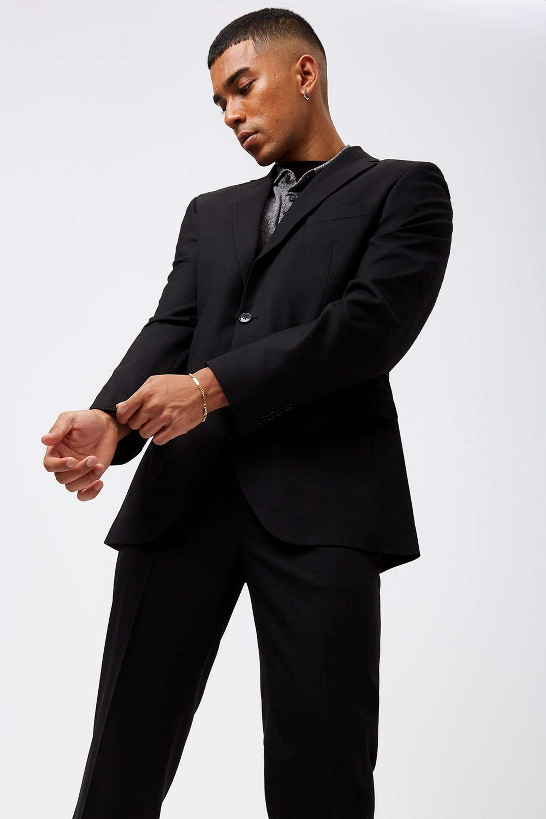 Black Essential Stretch Tailored Fit Suit Jacket