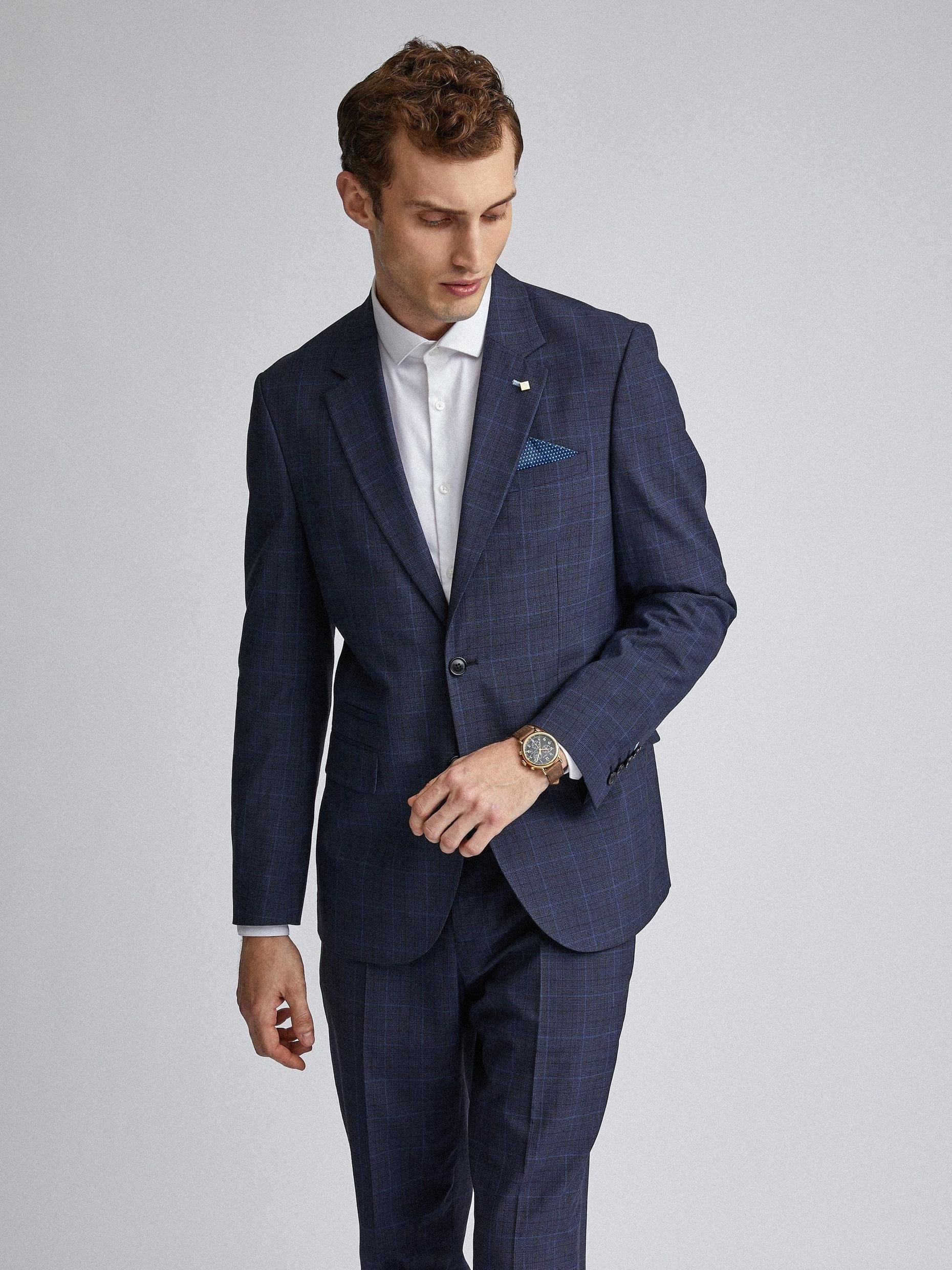 Navy Tonal Check Tailored Fit Suit Jacket
