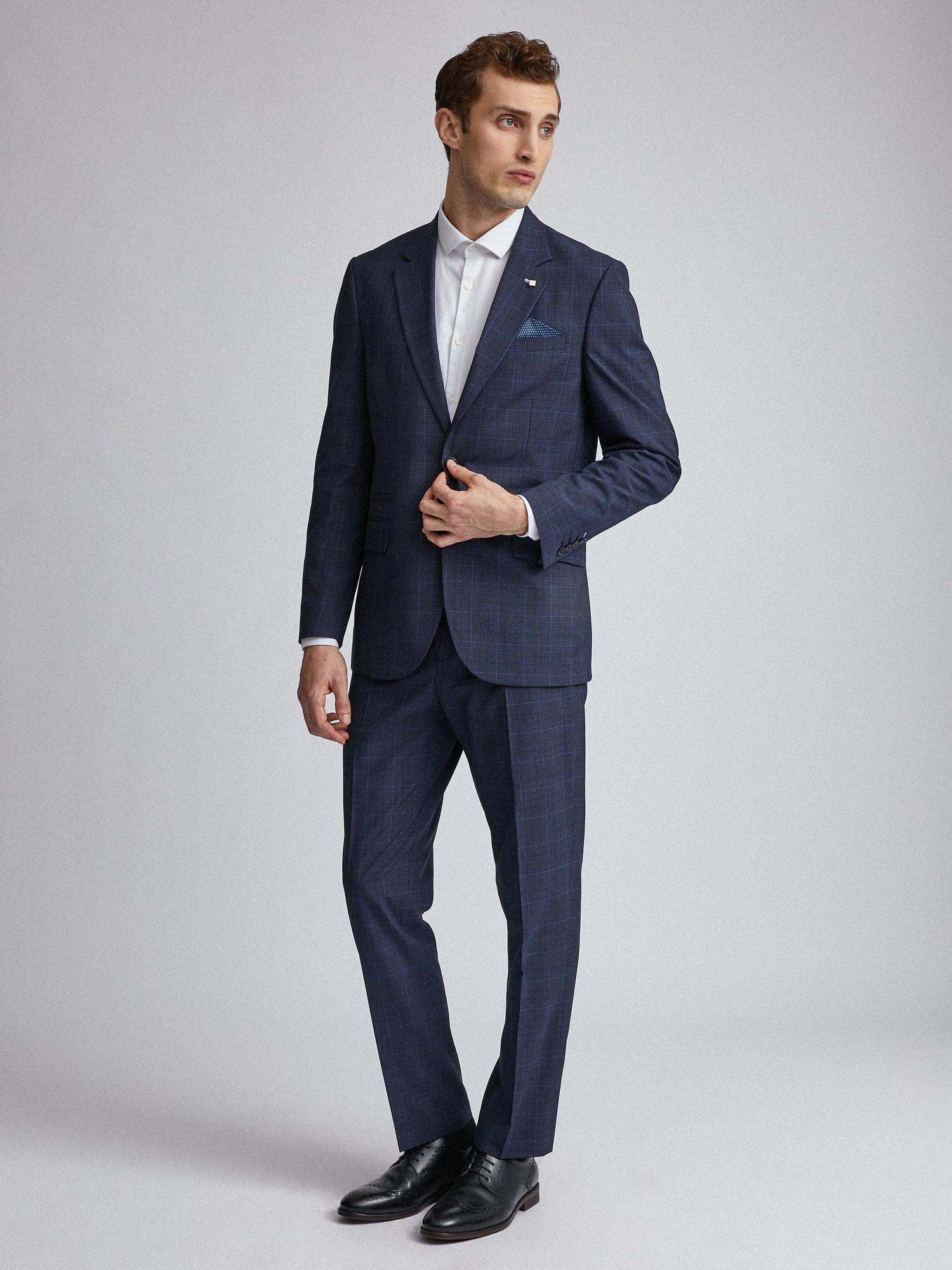 148 Navy Tonal Check Tailored Fit Suit Jacket image number 2
