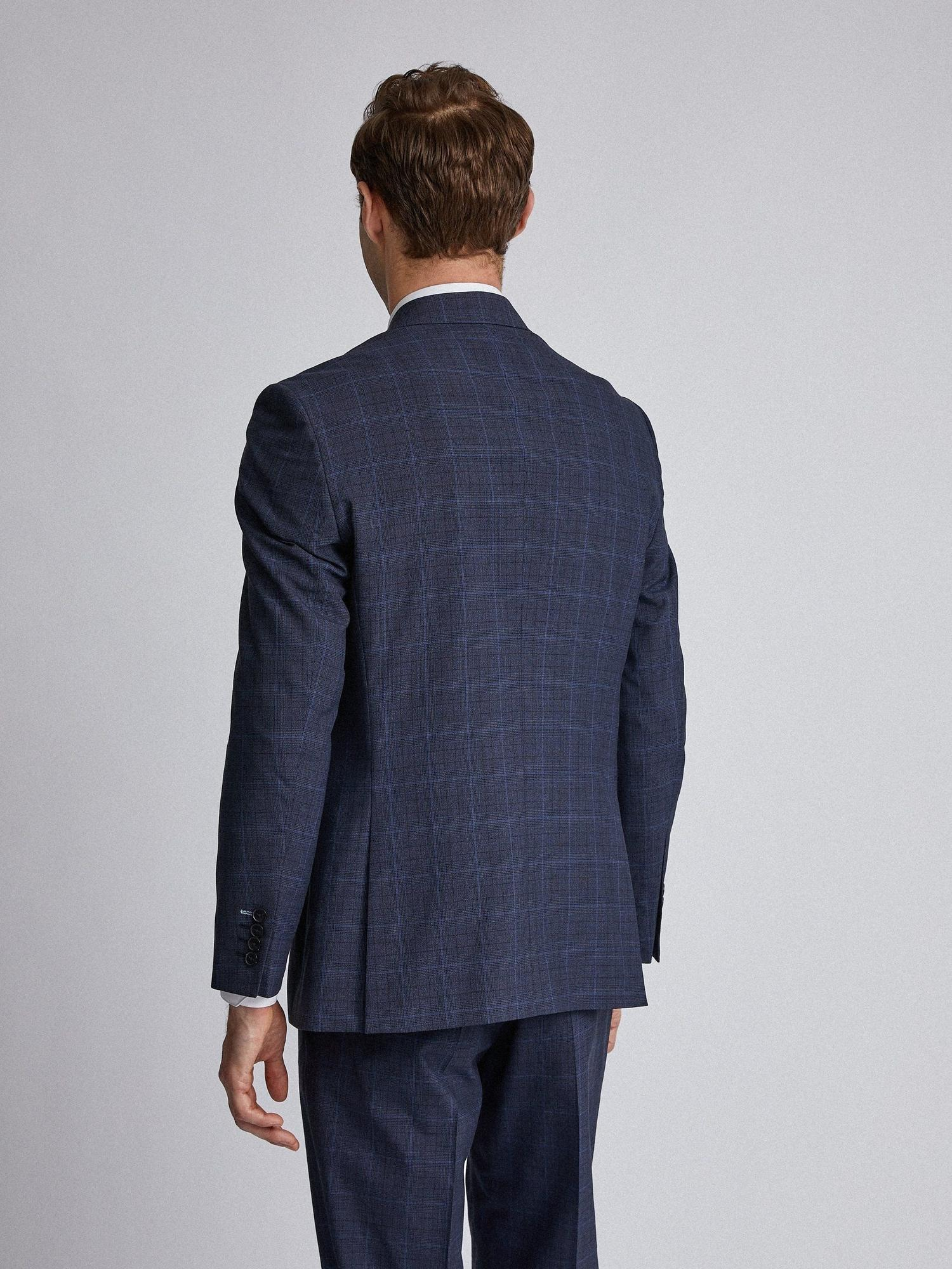 148 Navy Tonal Check Tailored Fit Suit Jacket image number 3