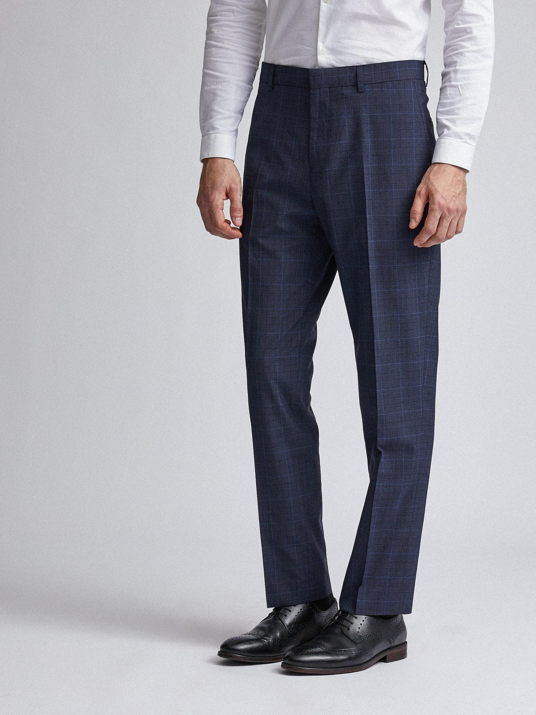 Navy Tonal Check Tailored Fit Suit Trousers