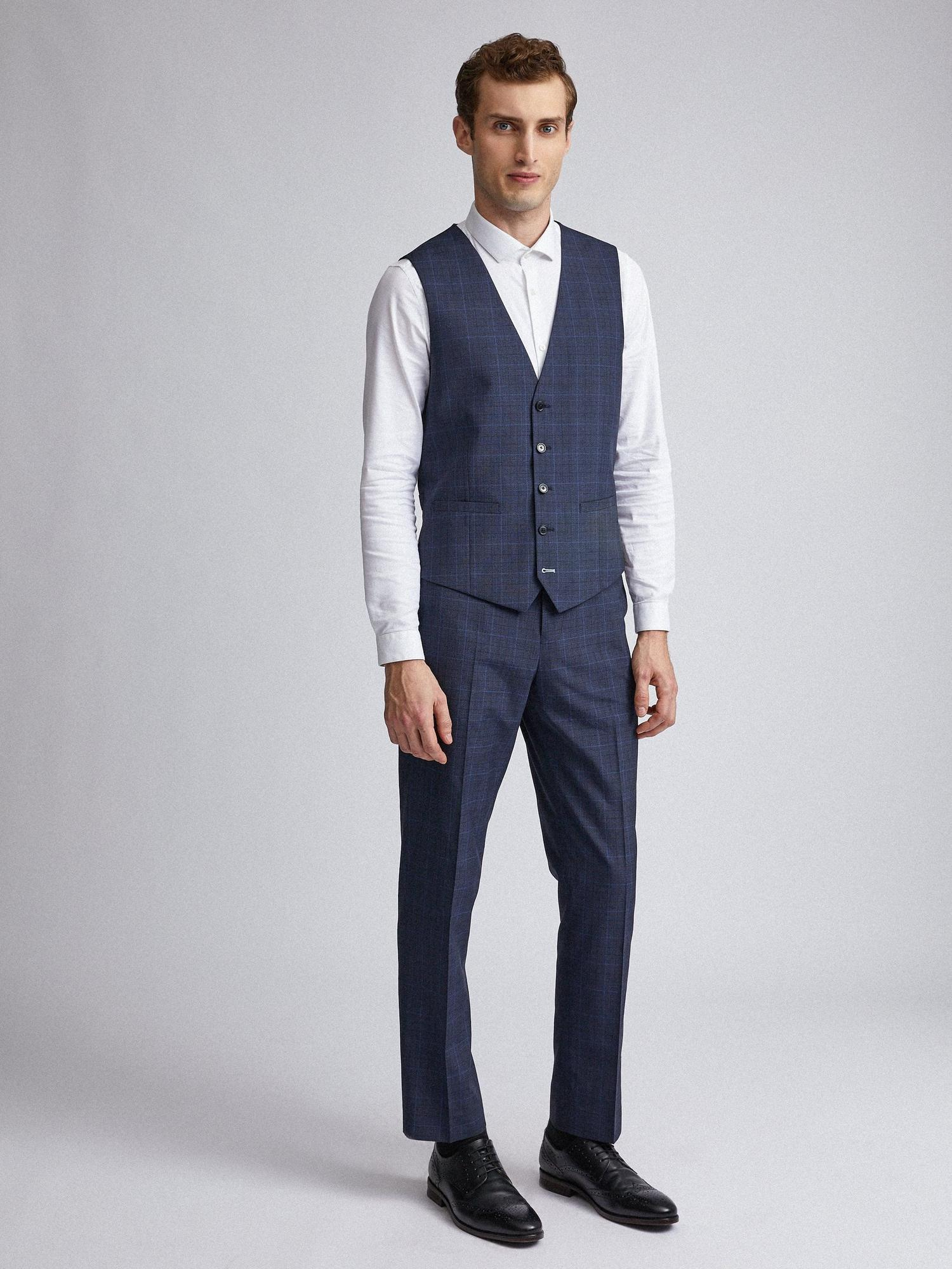 148 Navy Tonal Check Tailored Fit Suit Trousers image number 2