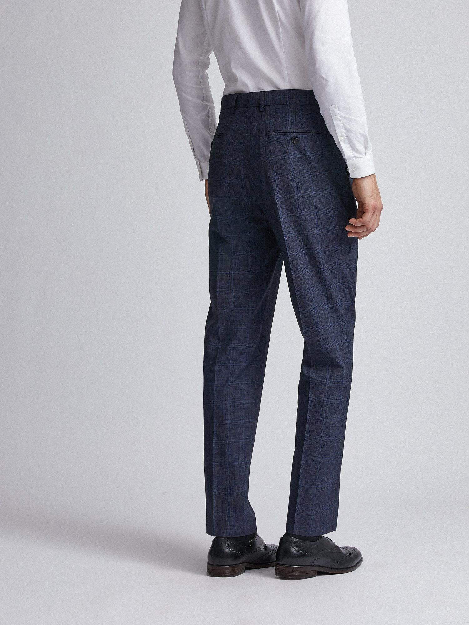 148 Navy Tonal Check Tailored Fit Suit Trousers image number 3