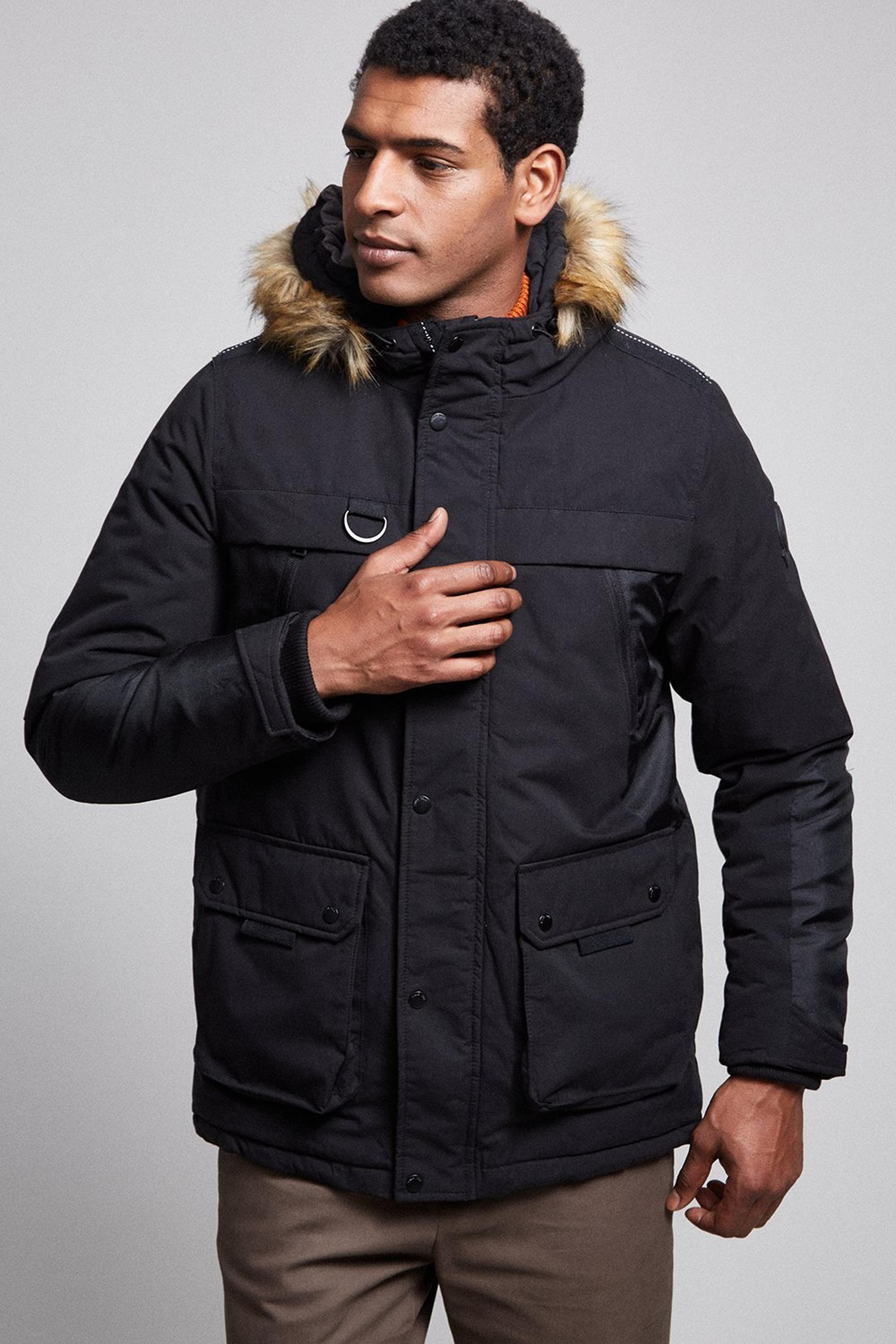 Black Faux Fur Trimmed Hooded Parka