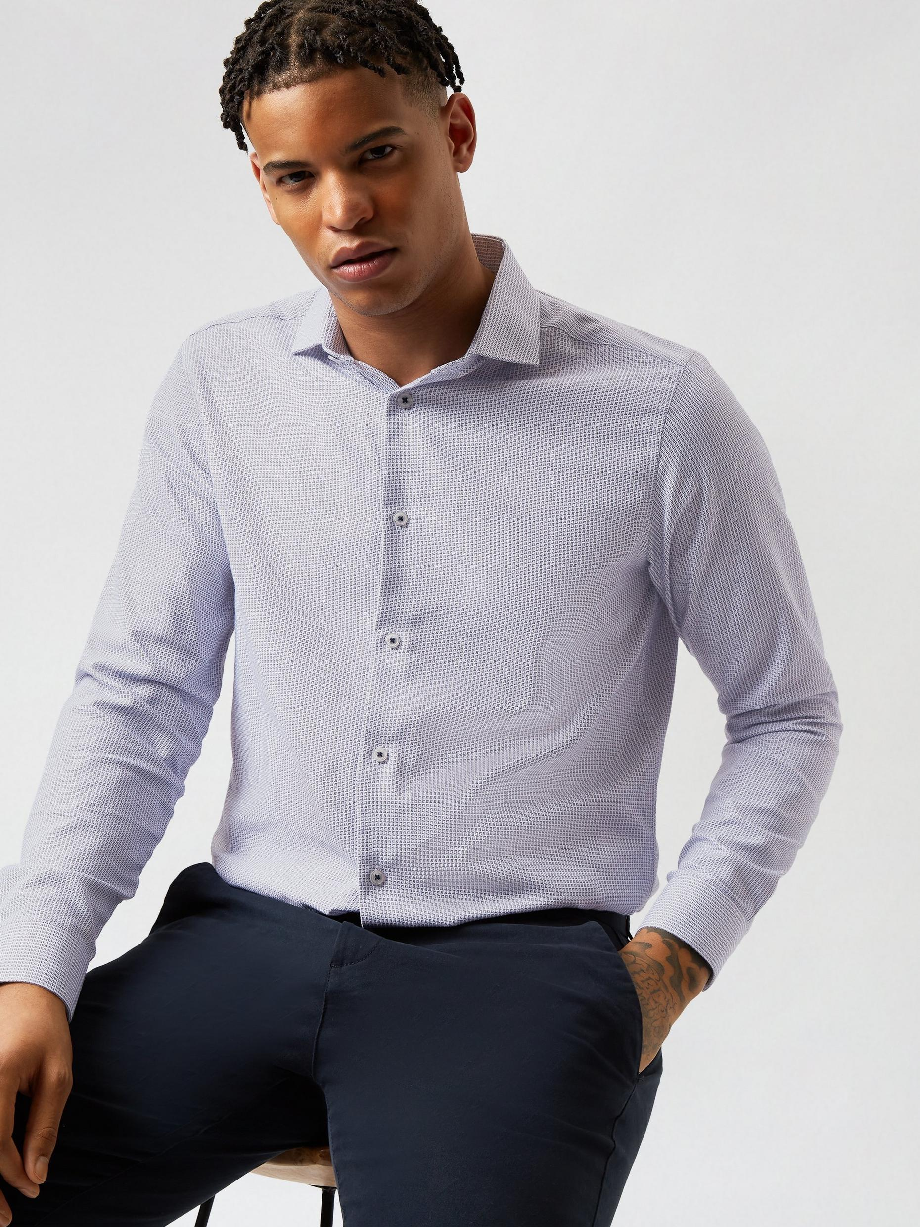 Navy and White Square Dobby Tailored Fit Shirt