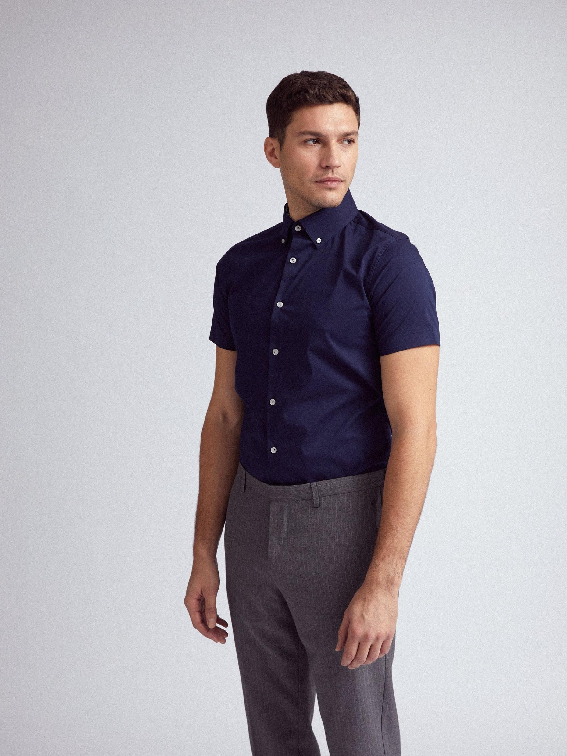 Navy Stretch Short Sleeve Skinny Fit Shirt