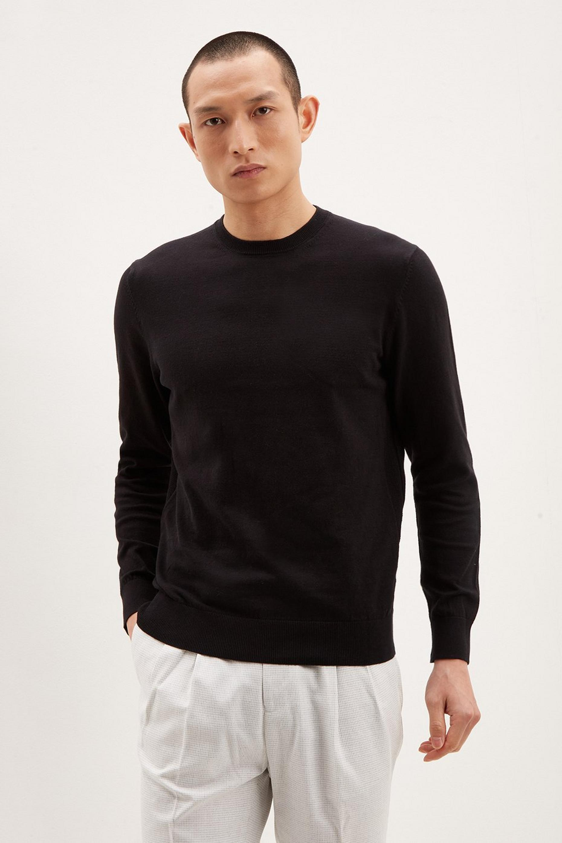 Black Crew Neck Jumper with Organic Cotton