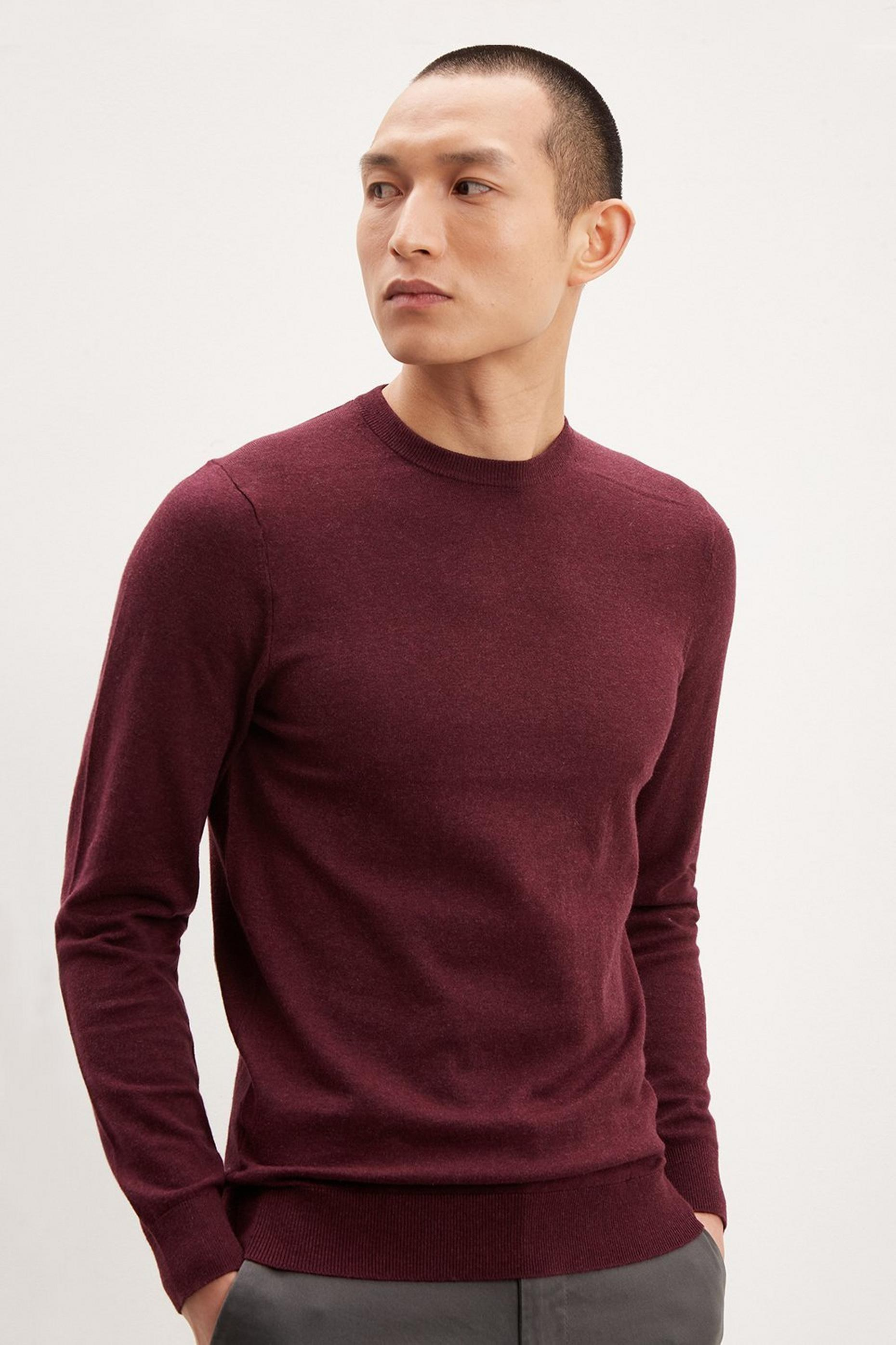 Burgundy Crew Neck Jumper with Organic Cotton