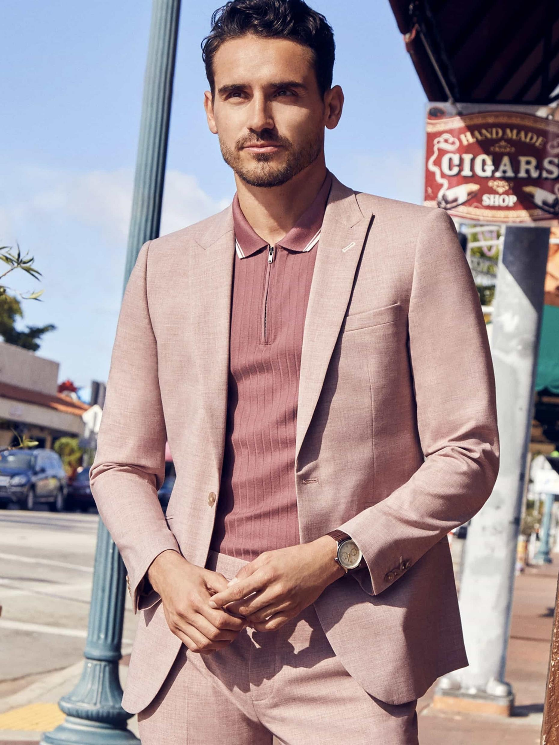 Dusty Pink Marl Skinny Fit Suit Jacket