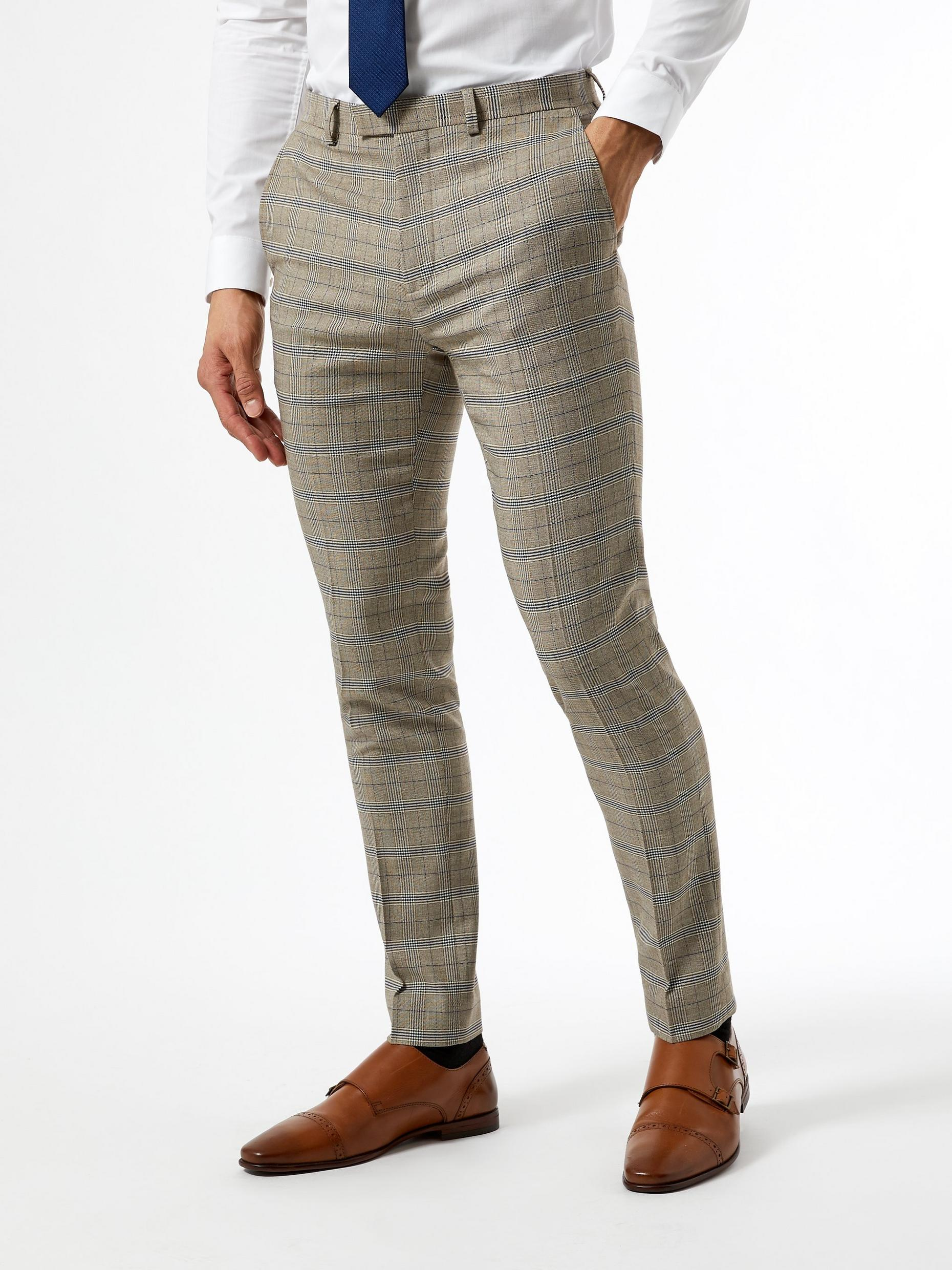 Neutral Navy Check Skinny Fit Suit Trousers