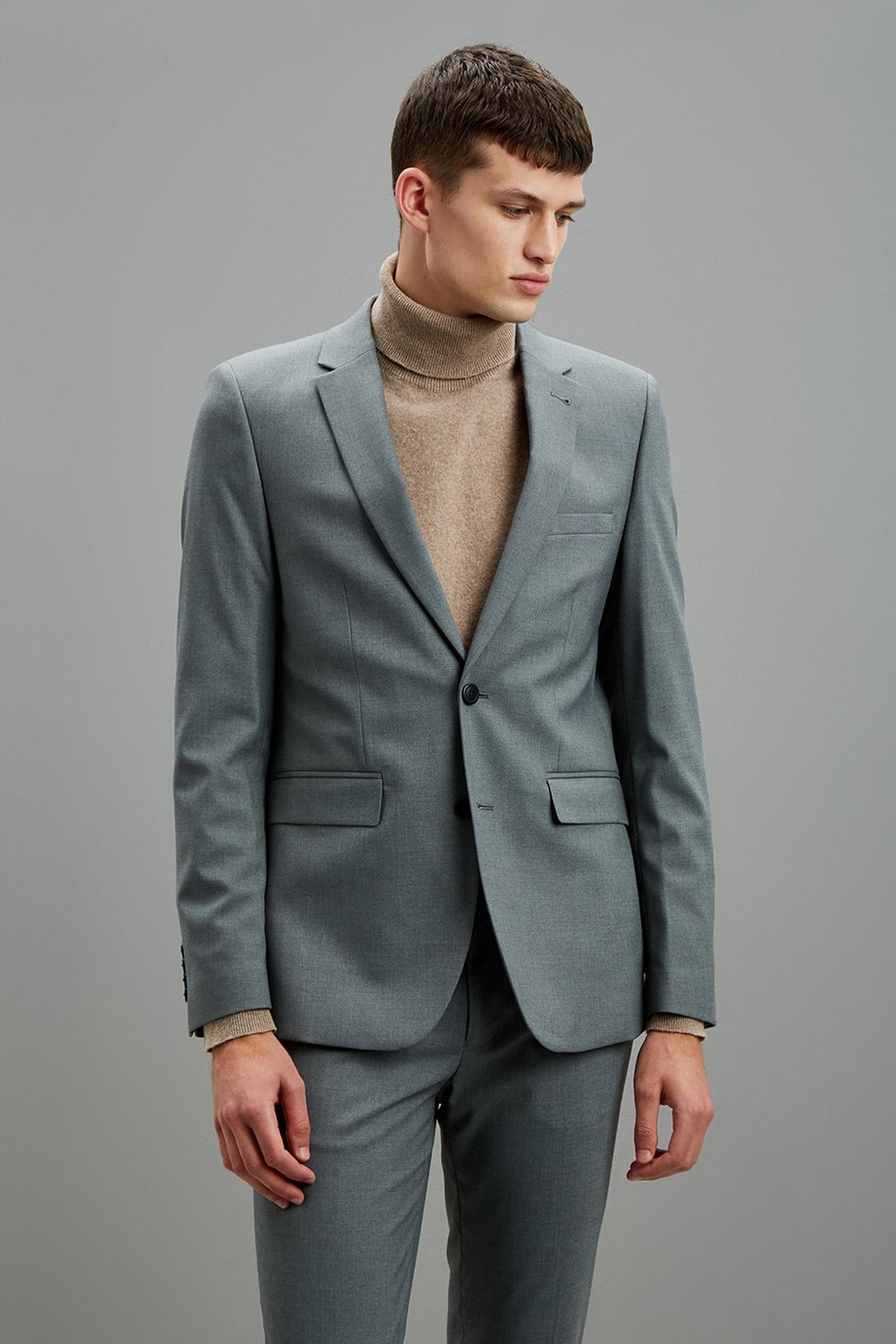 Grey Essential Skinny Fit Suit Jacket