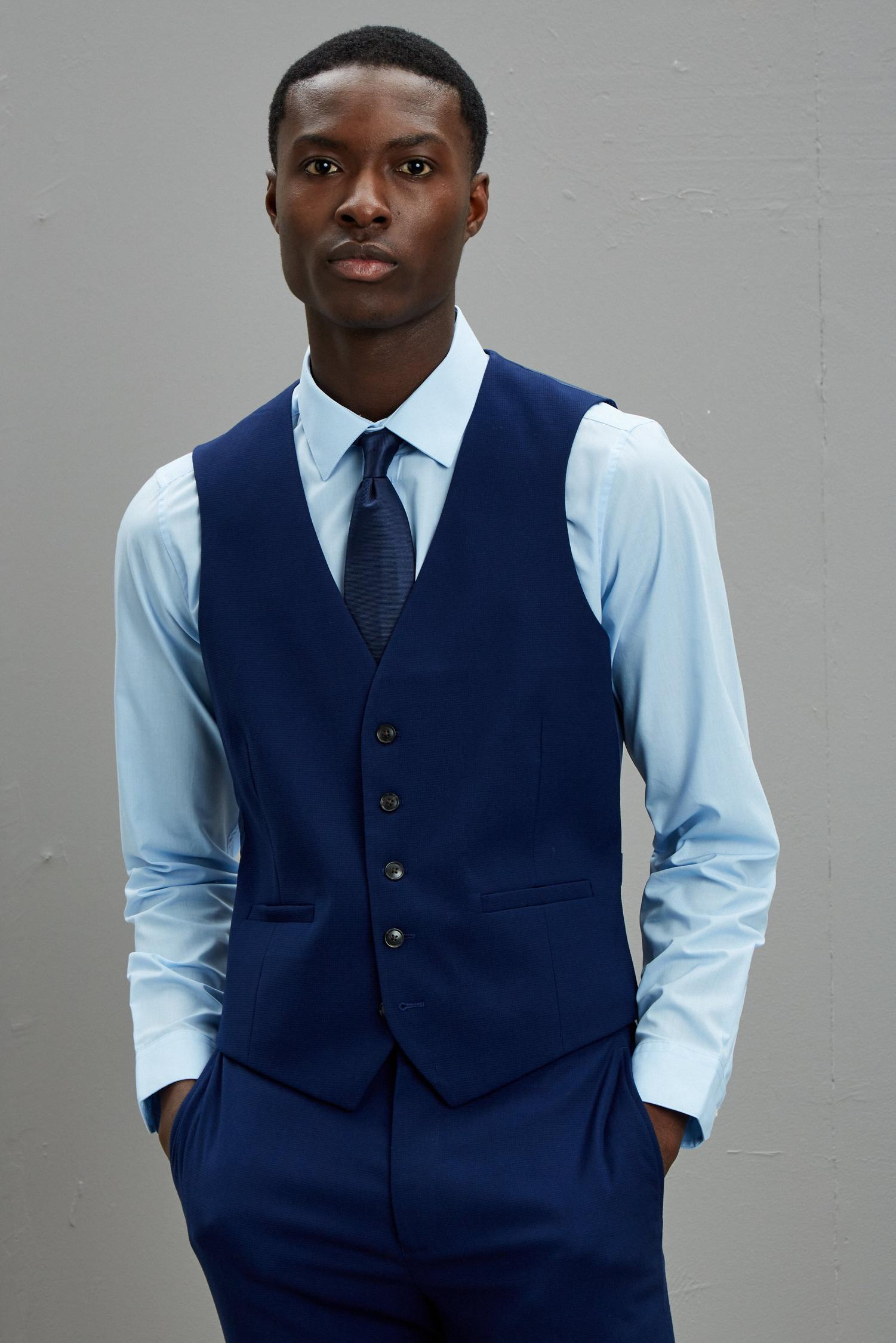 148 Blue Texture Skinny Fit Suit Waistcoat image number 1