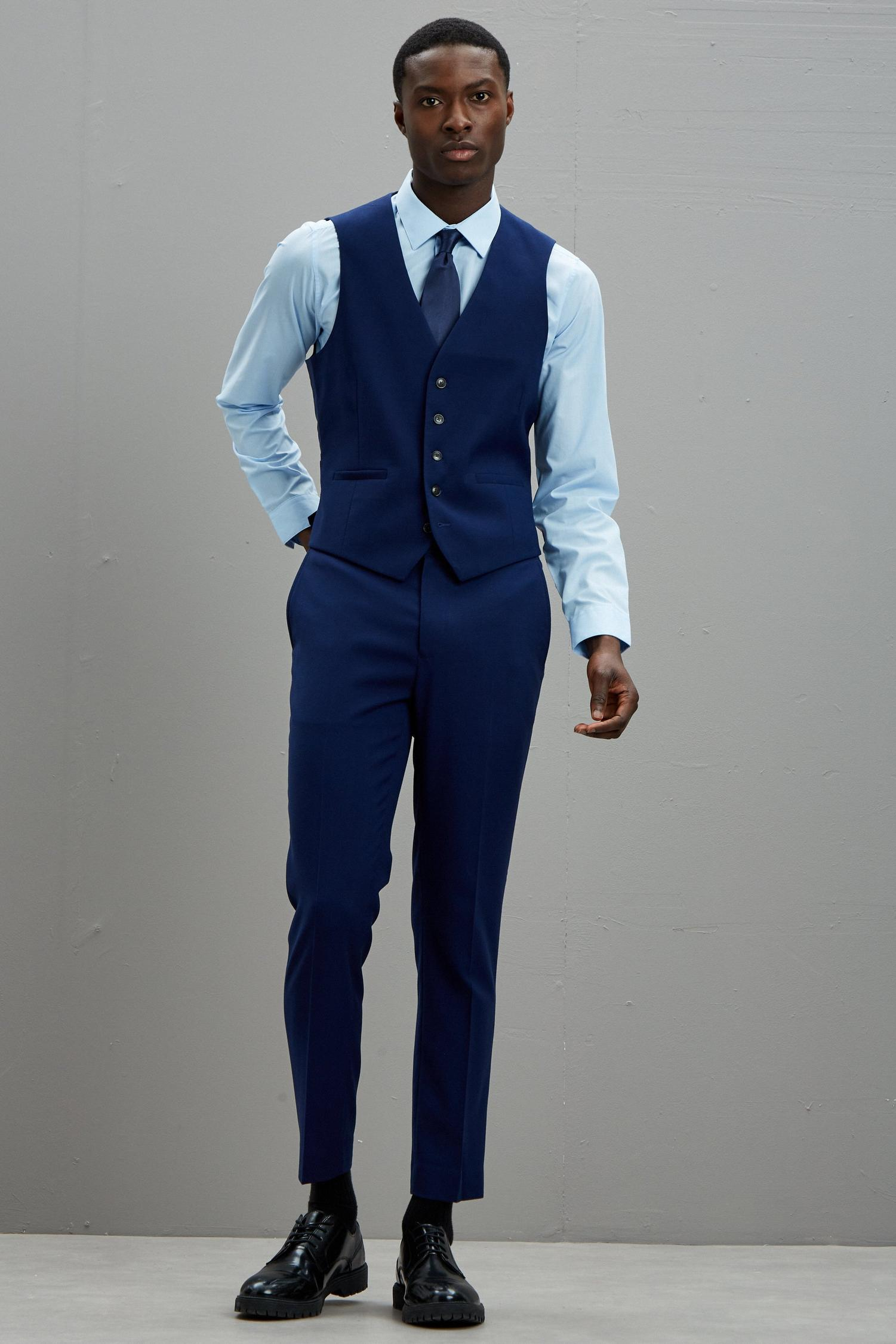 148 Blue Texture Skinny Fit Suit Waistcoat image number 2