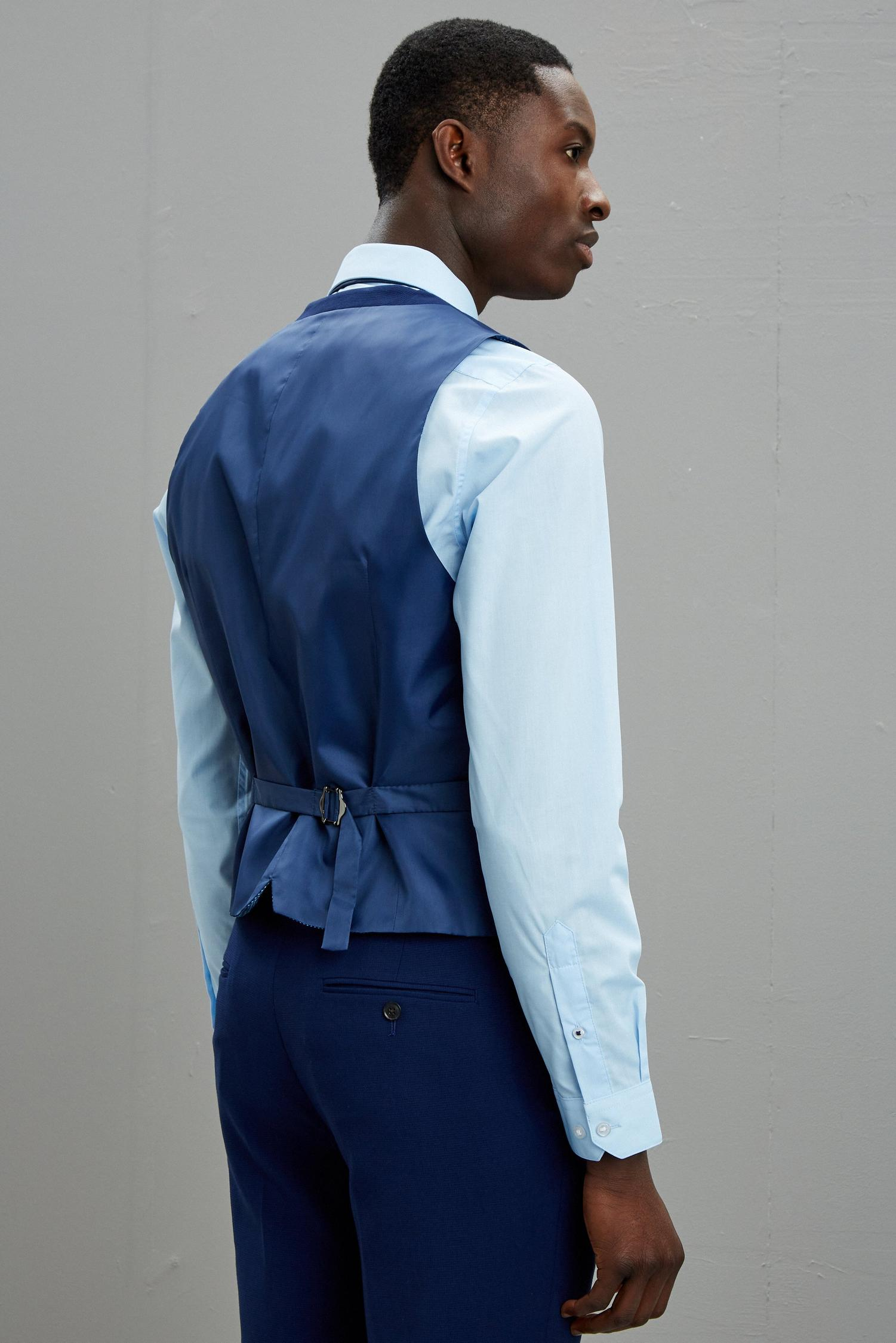 148 Blue Texture Skinny Fit Suit Waistcoat image number 3