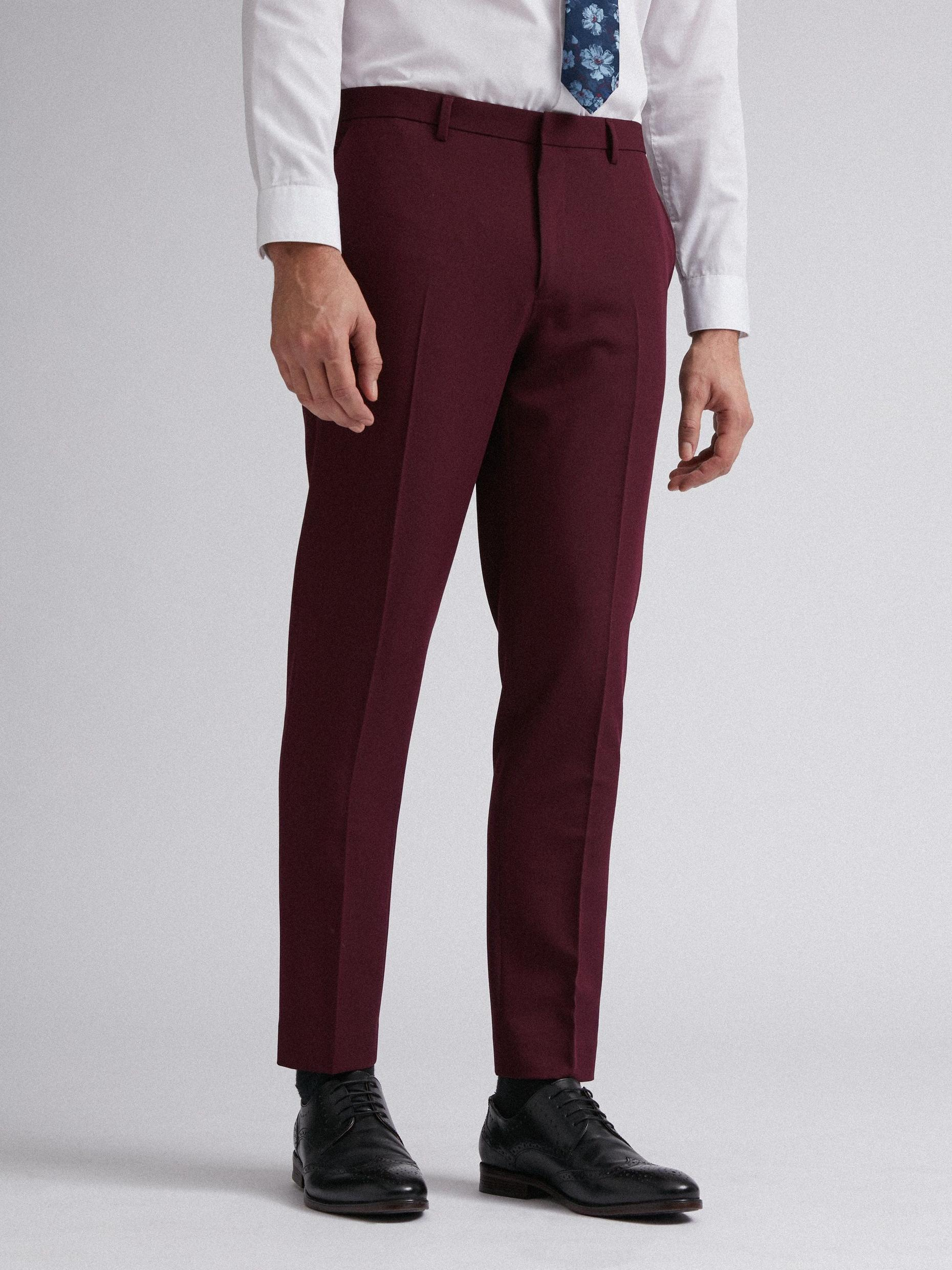 Raspberry Stretch Skinny Fit Suit Trousers