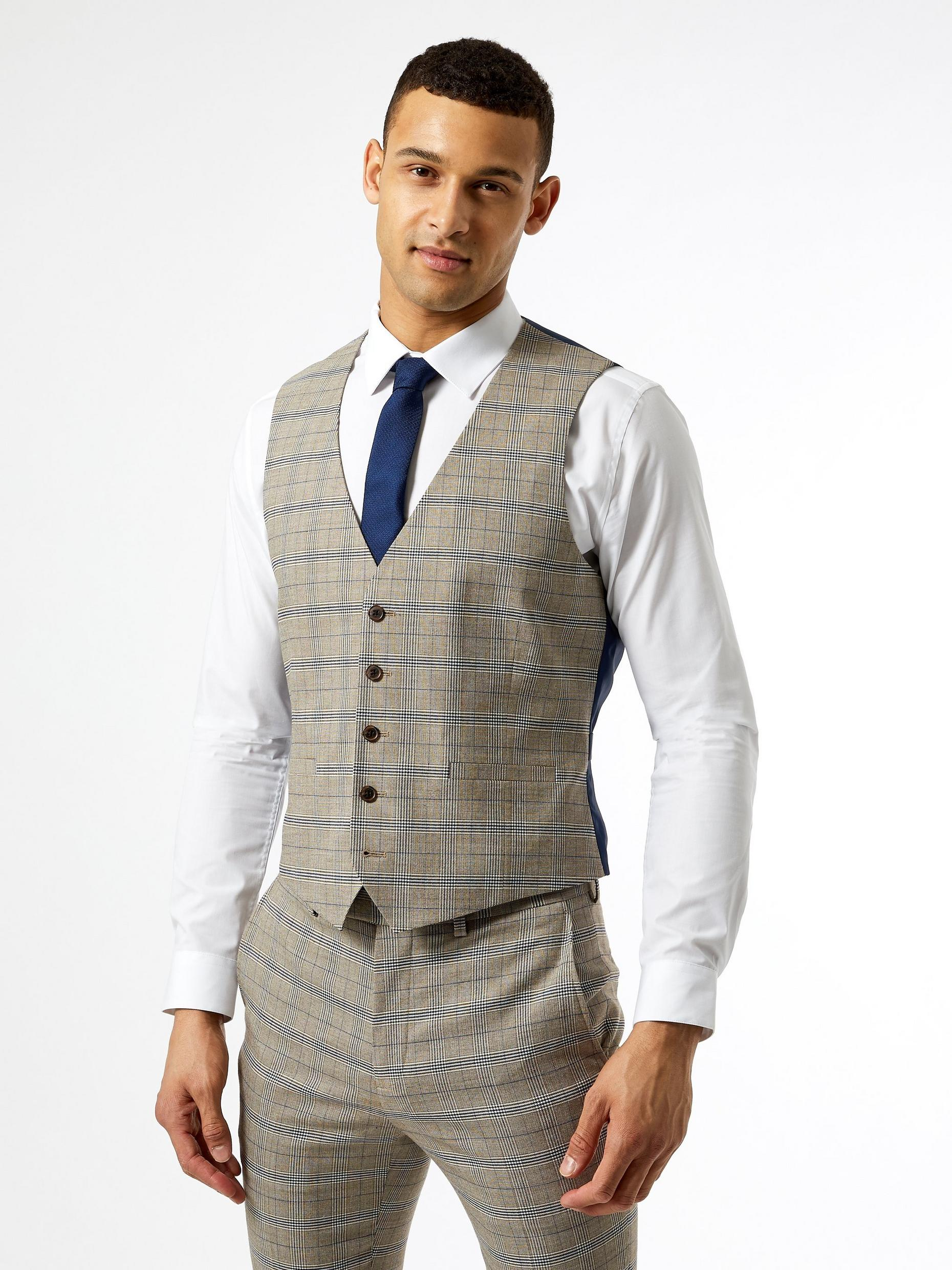 Neutral Navy Check Skinny Fit Suit Waistcoat