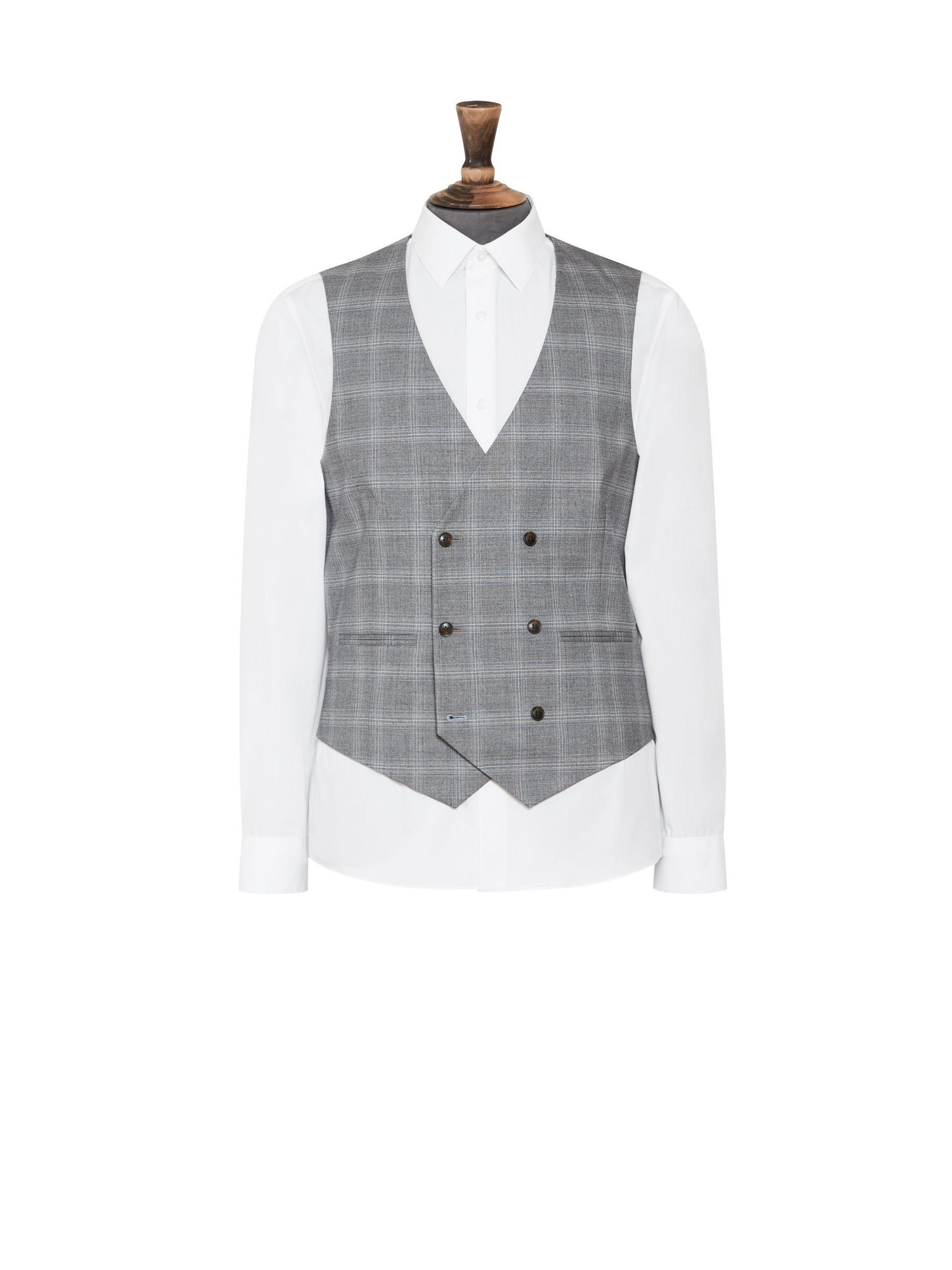 Grey Fine Check Skinny Fit Suit Waistcoat
