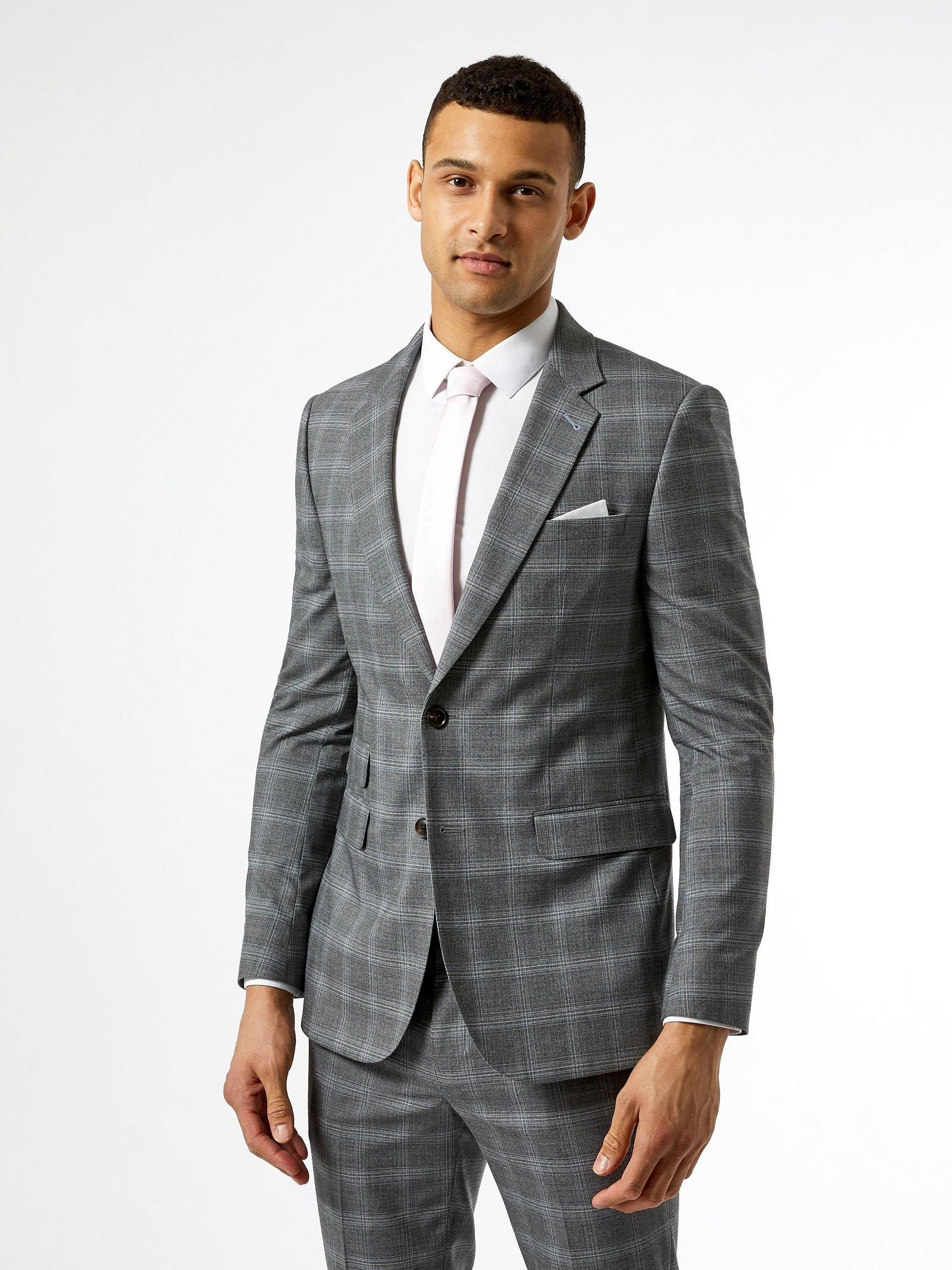 Grey Fine Check Skinny Fit Suit Jacket