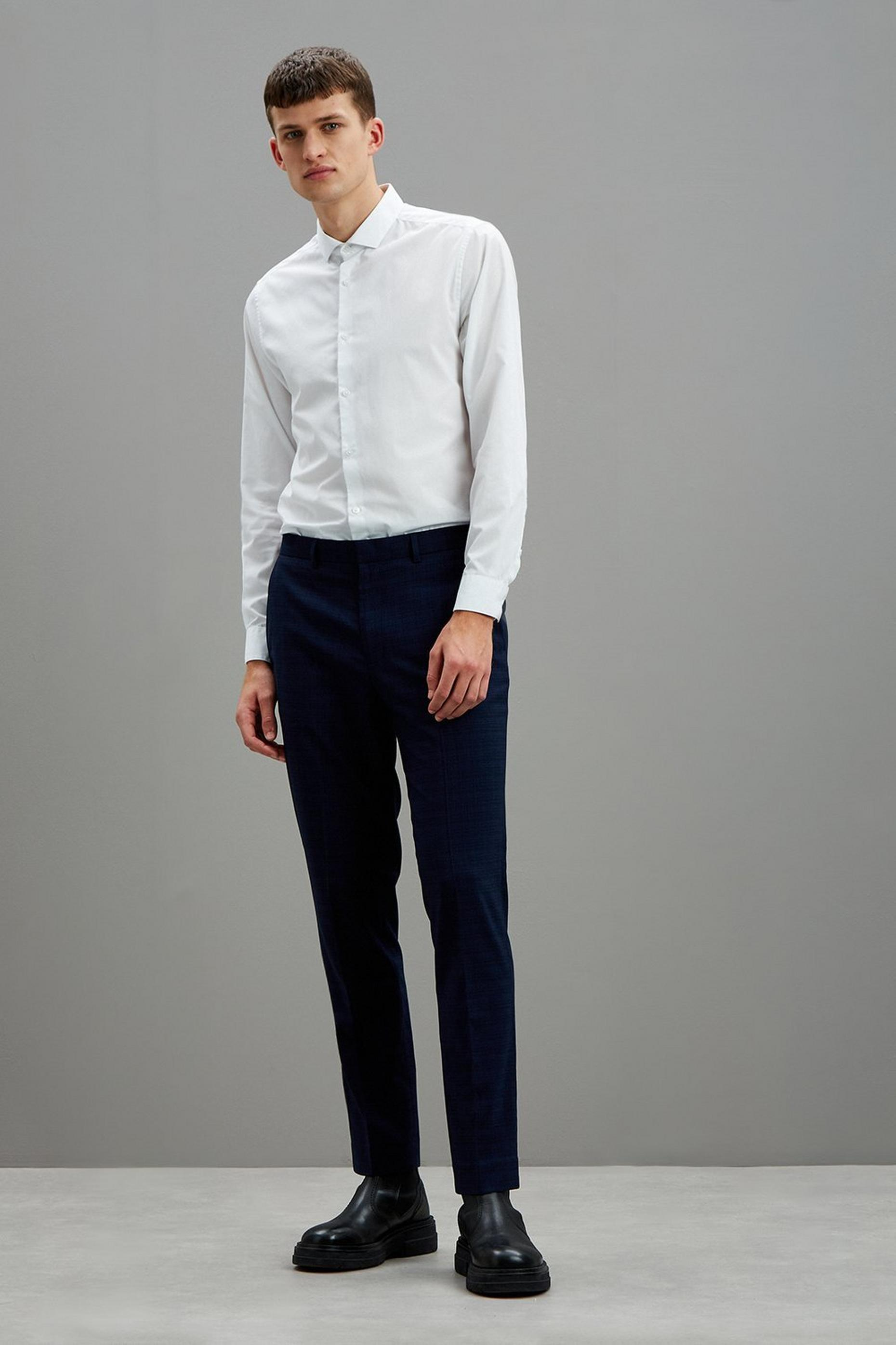 Navy Crosshatch Slim Fit Suit Trousers