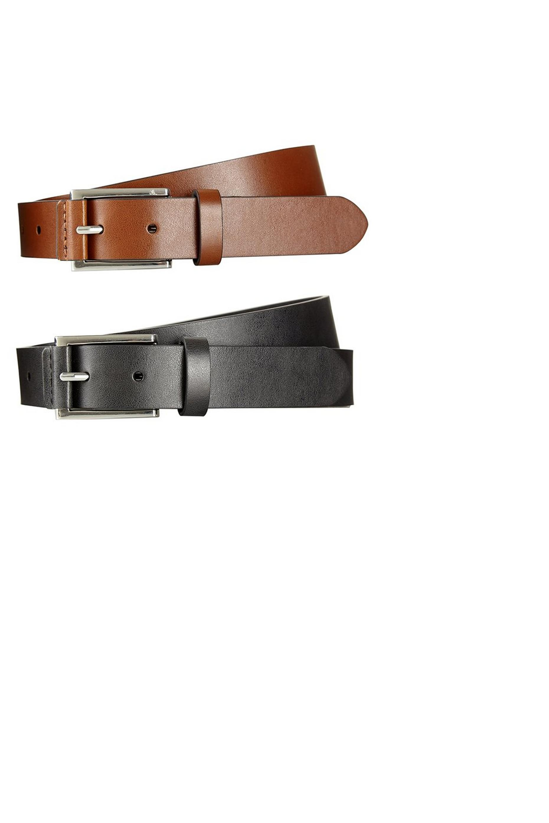 2 Pack Black And Brown Tab Detail Belts