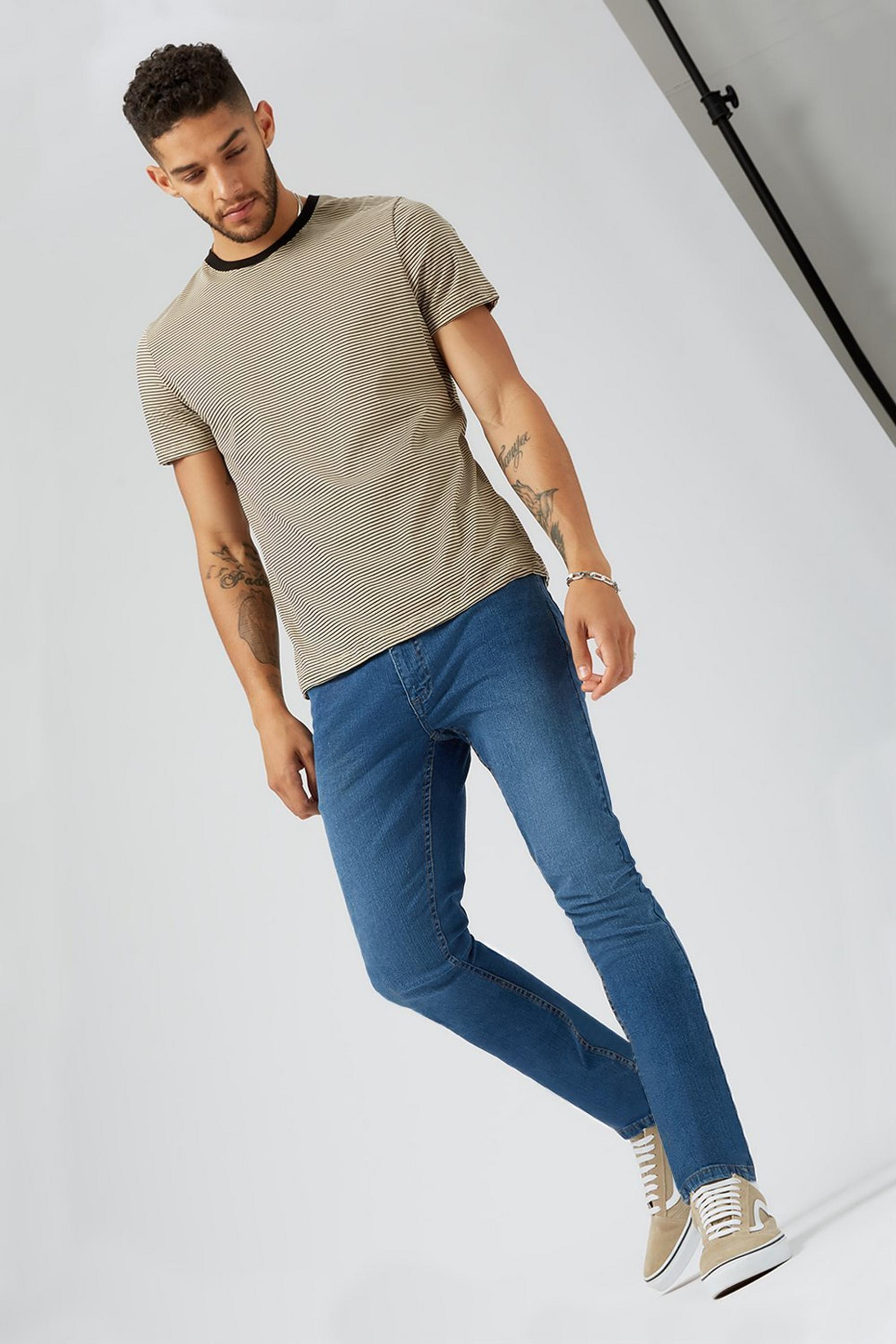 Blue Mid Wash Skinny Jeans