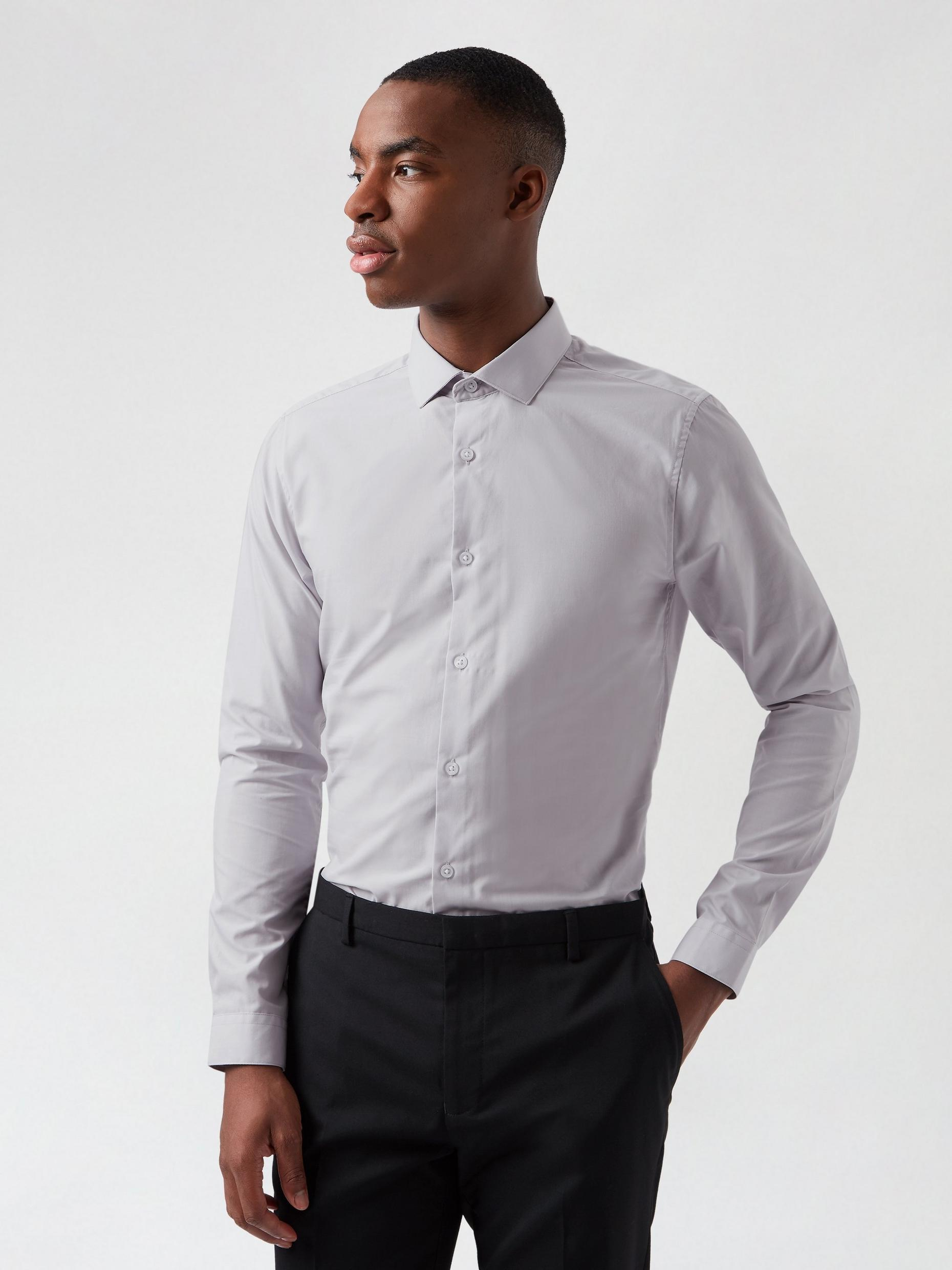 Grey Skinny Fit Easy Iron Shirt